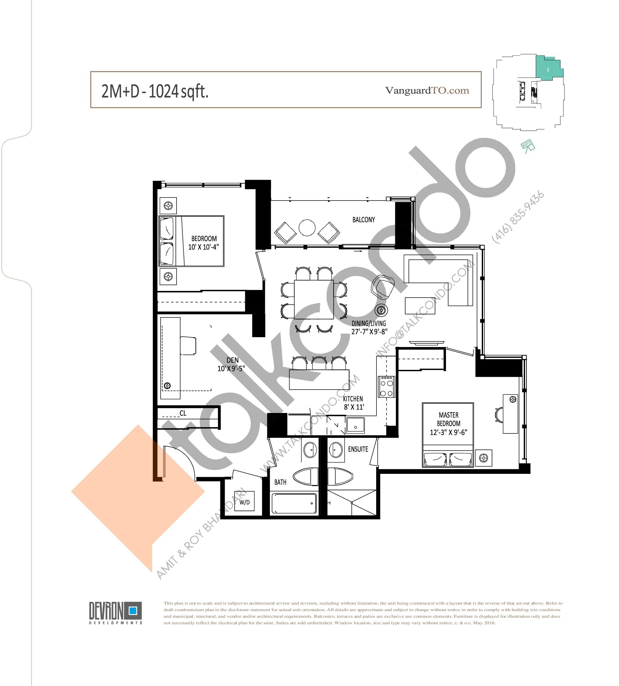 2M+D Floor Plan at The Vanguard - 1024 sq.ft