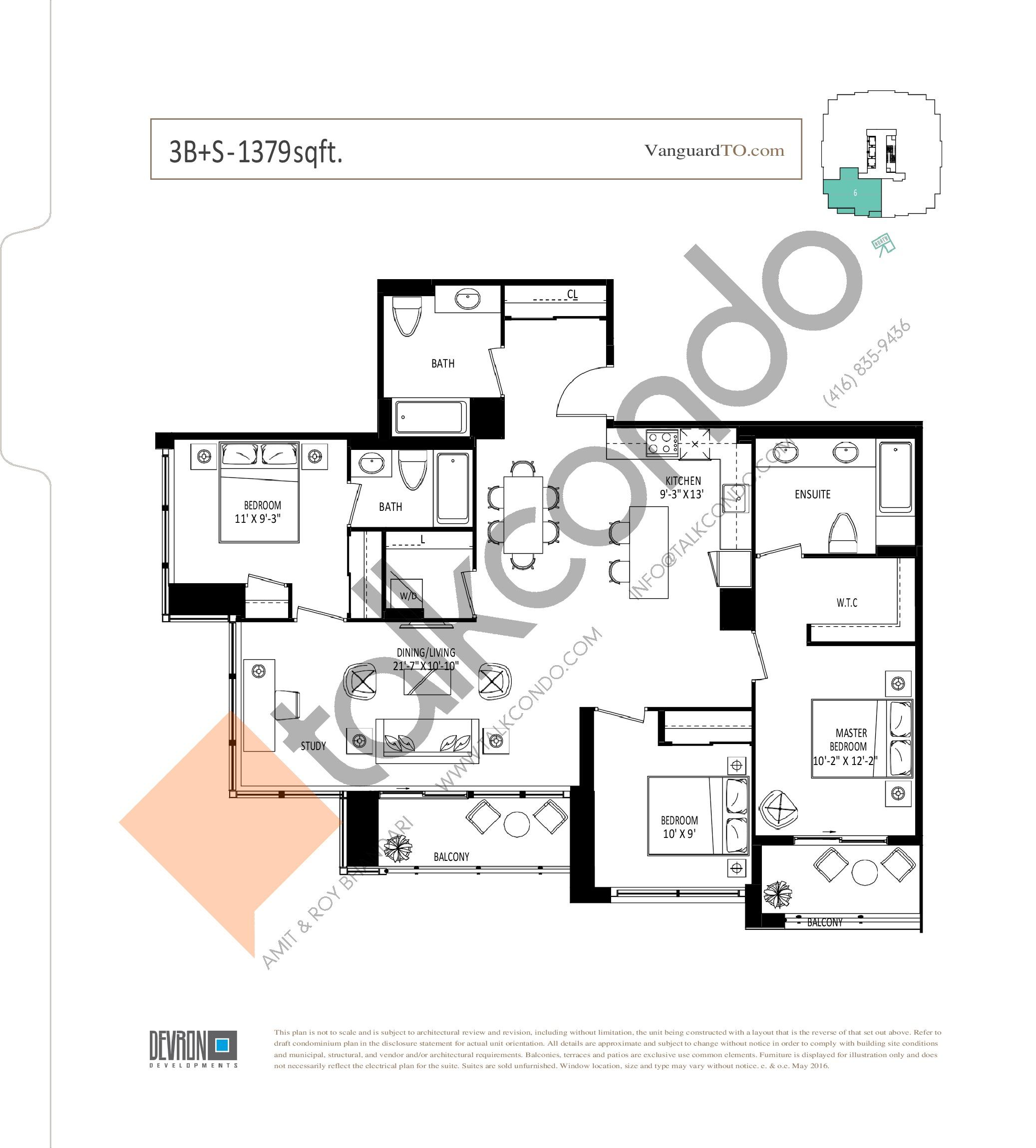 3B+S Floor Plan at The Vanguard - 1379 sq.ft
