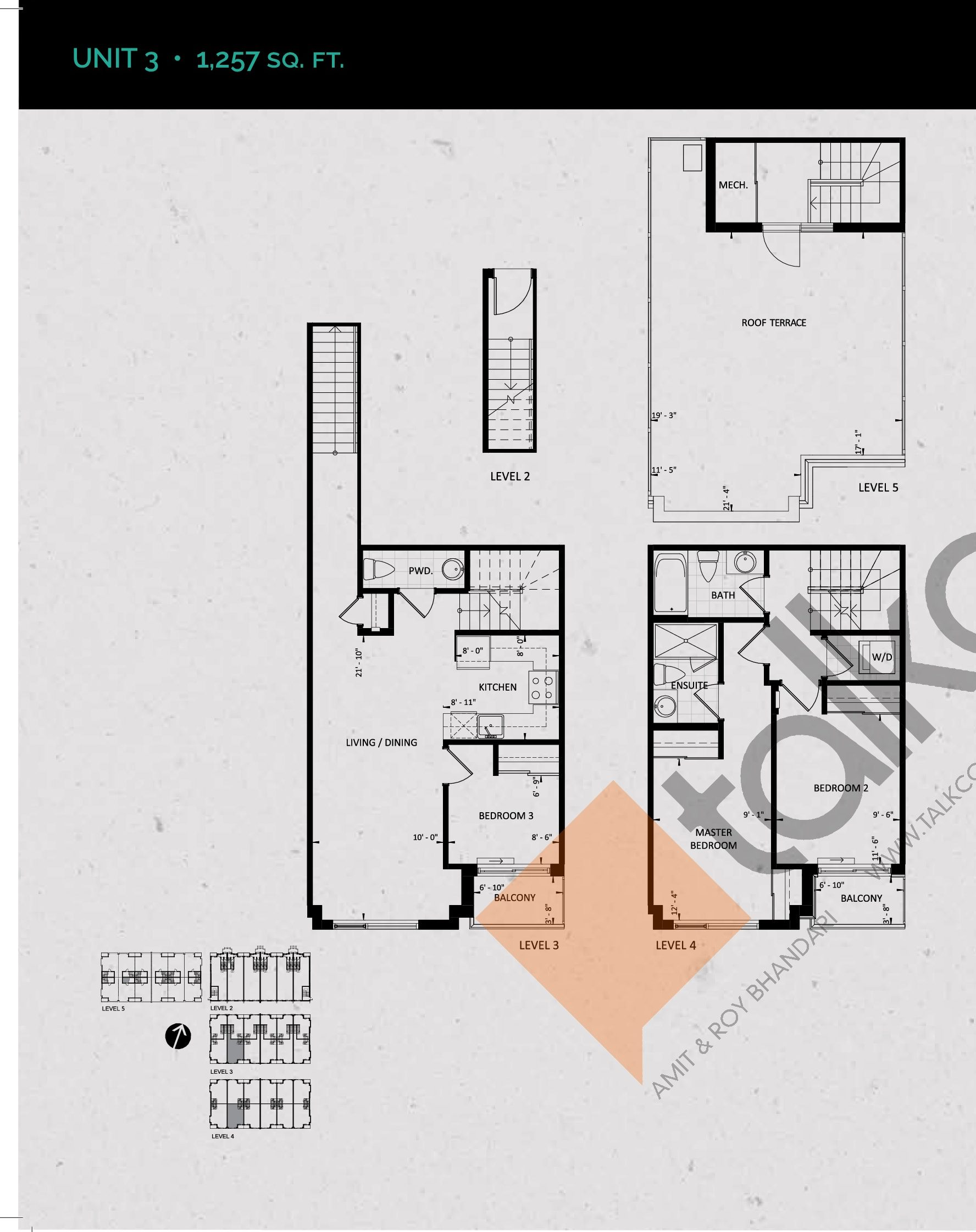 Unit 3 (Terrace Collection) Floor Plan at Towns at Rouge Valley - 1257 sq.ft