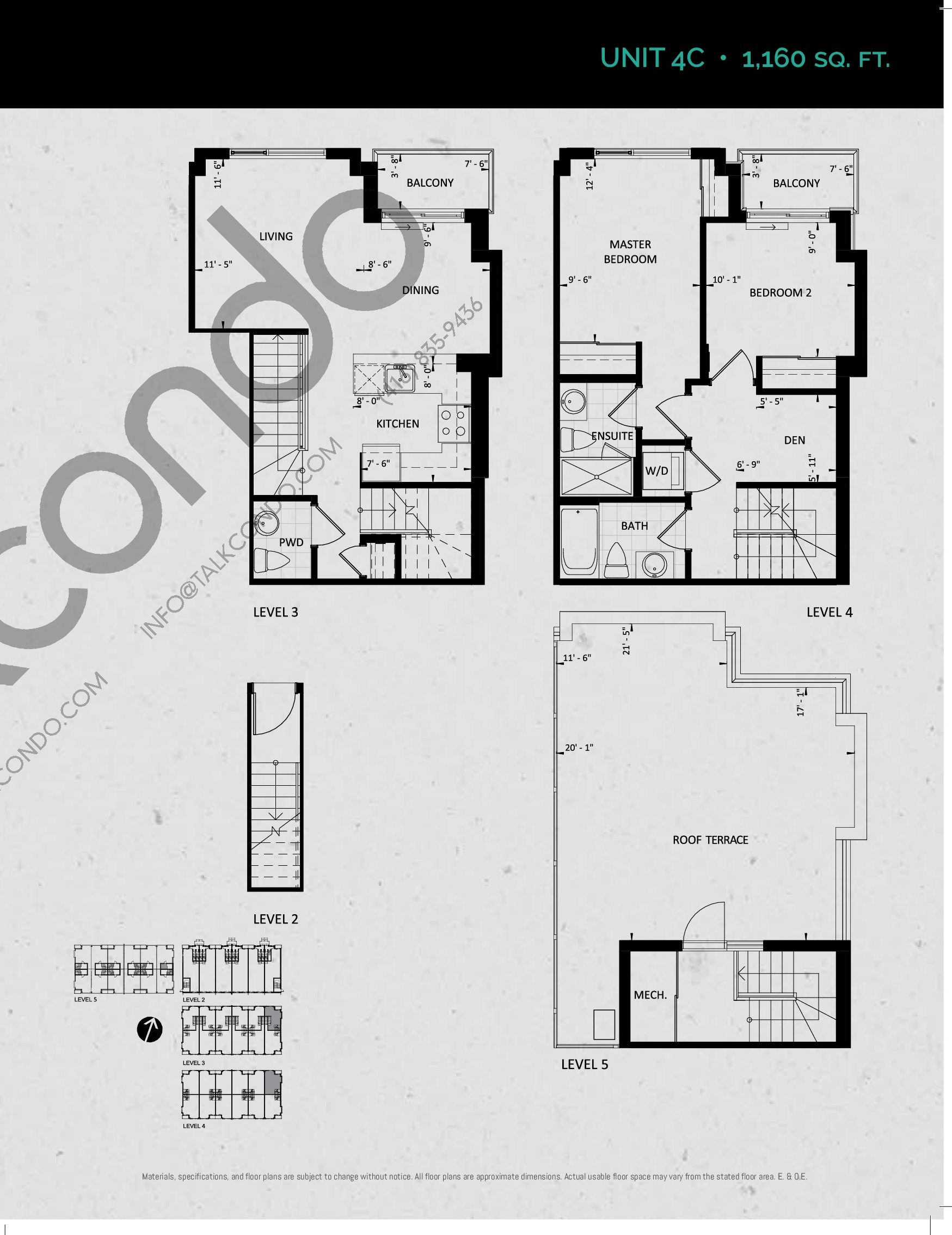 Unit 4C (Terrace Collection) Floor Plan at Towns at Rouge Valley - 1160 sq.ft
