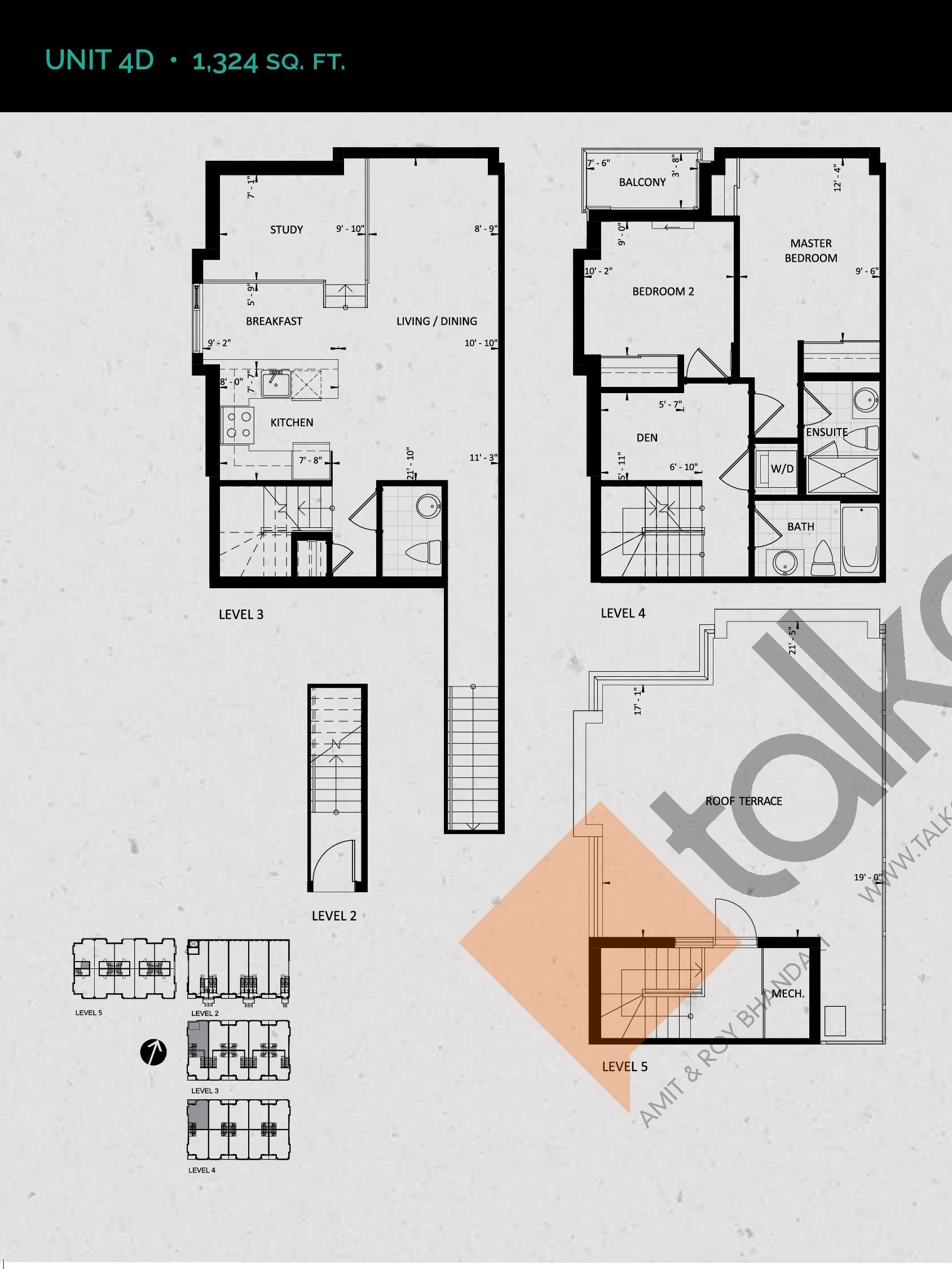 Unit 4D (Terrace Collection) Floor Plan at Towns at Rouge Valley - 1324 sq.ft
