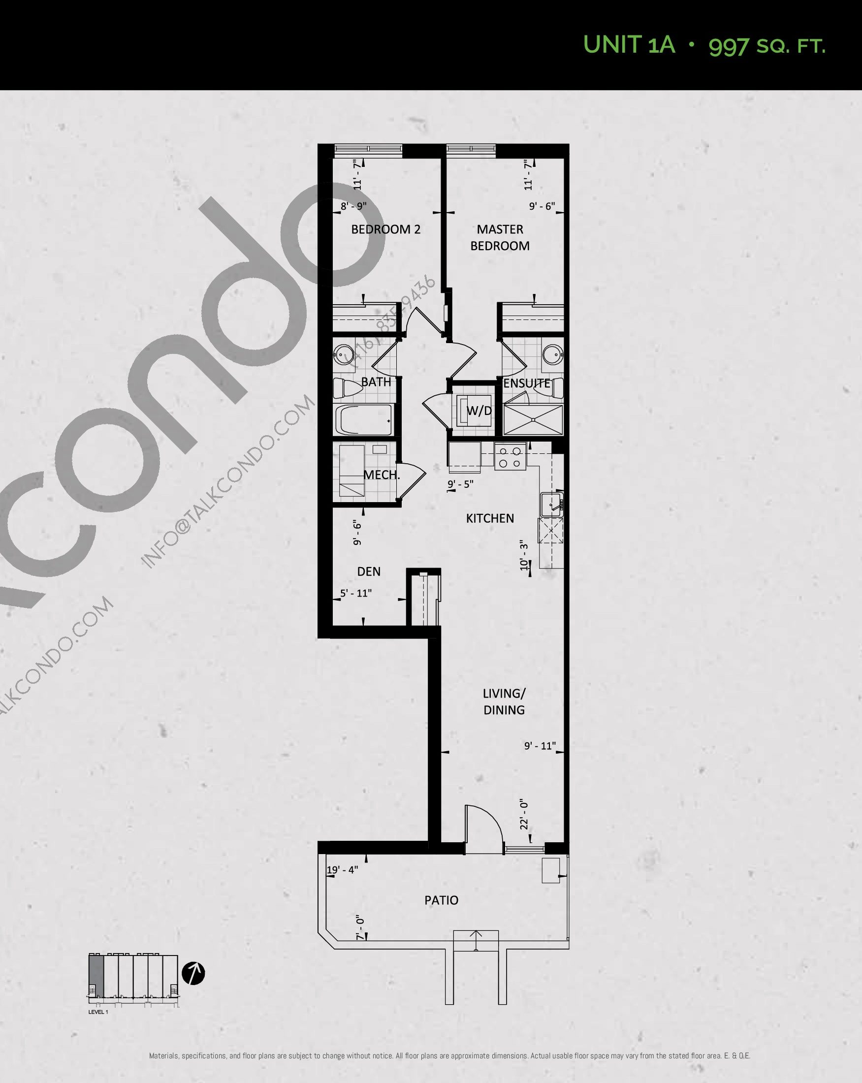 Unit 1A (Garden Collection) Floor Plan at Towns at Rouge Valley - 997 sq.ft