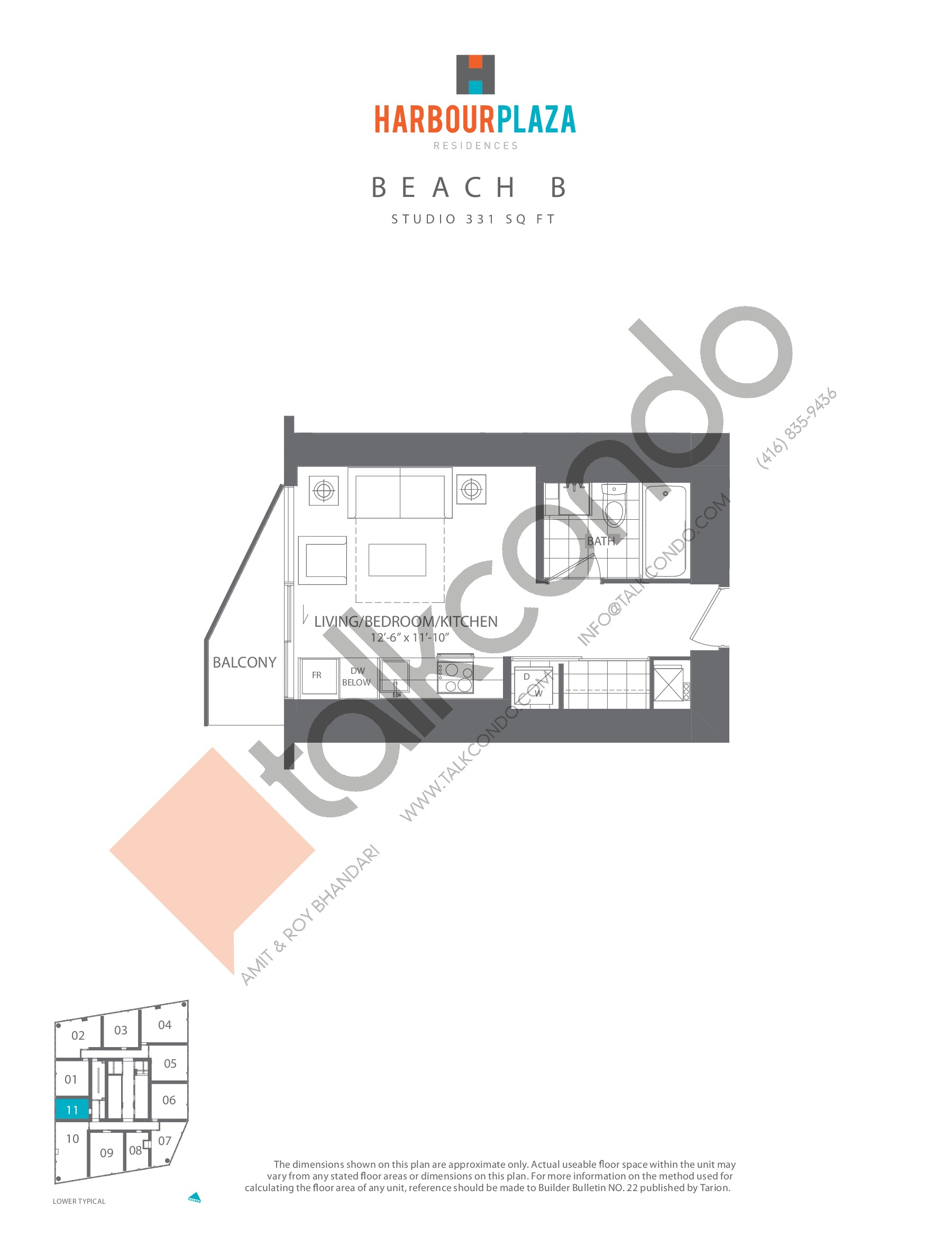 Beach B Floor Plan at Harbour Plaza Residences - 331 sq.ft