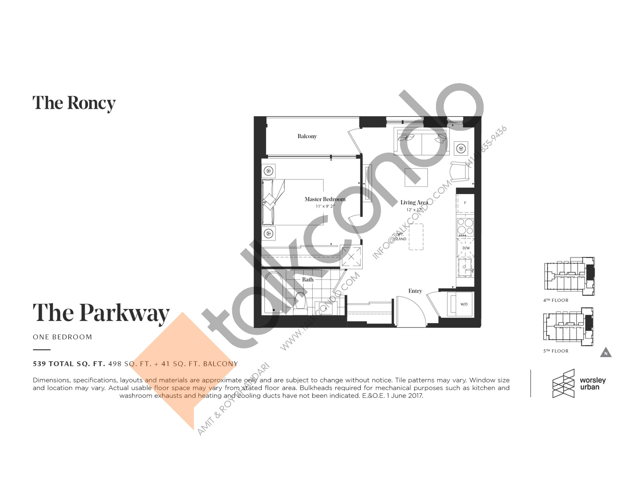 The Parkway Floor Plan at The Roncy Condos - 498 sq.ft