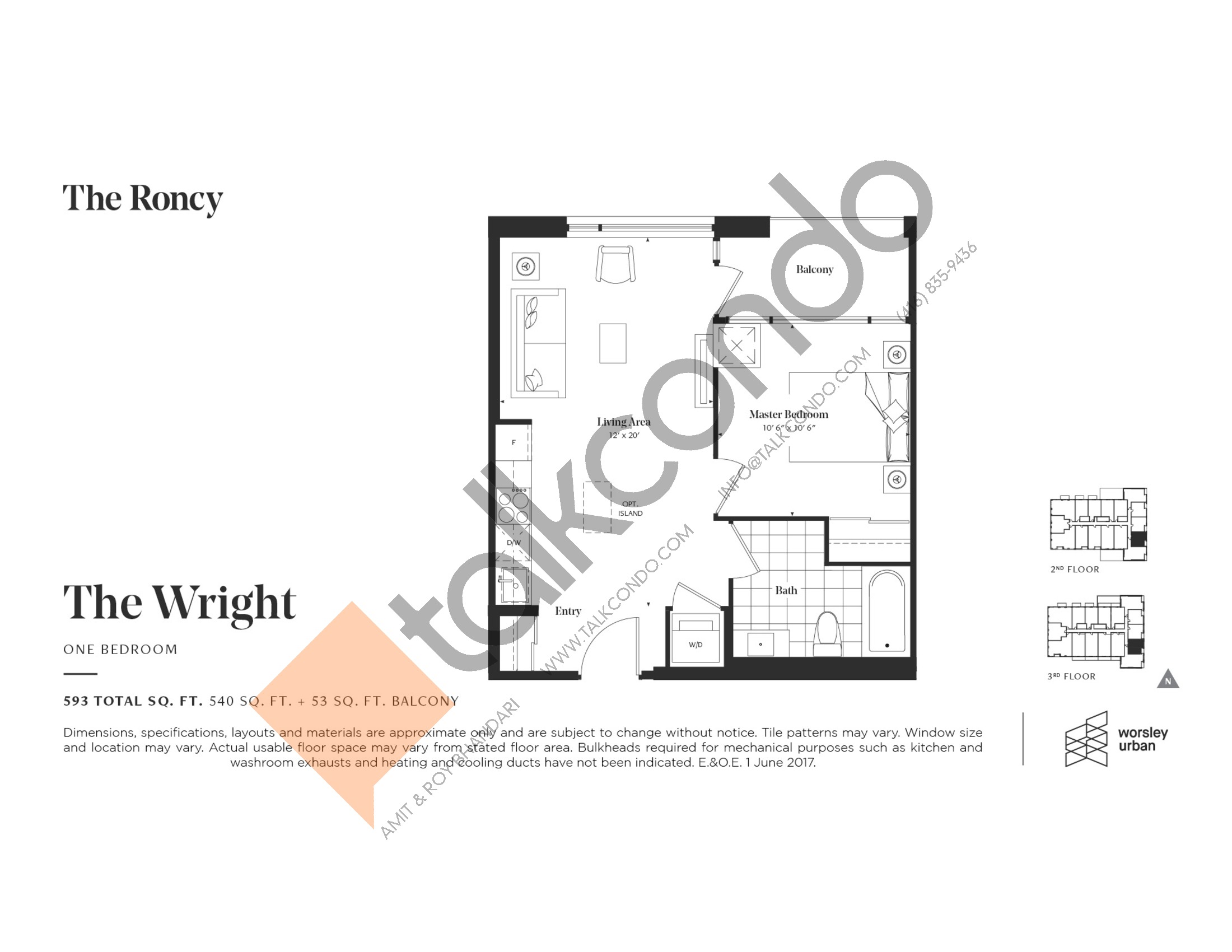 The Wright Floor Plan at The Roncy Condos - 540 sq.ft