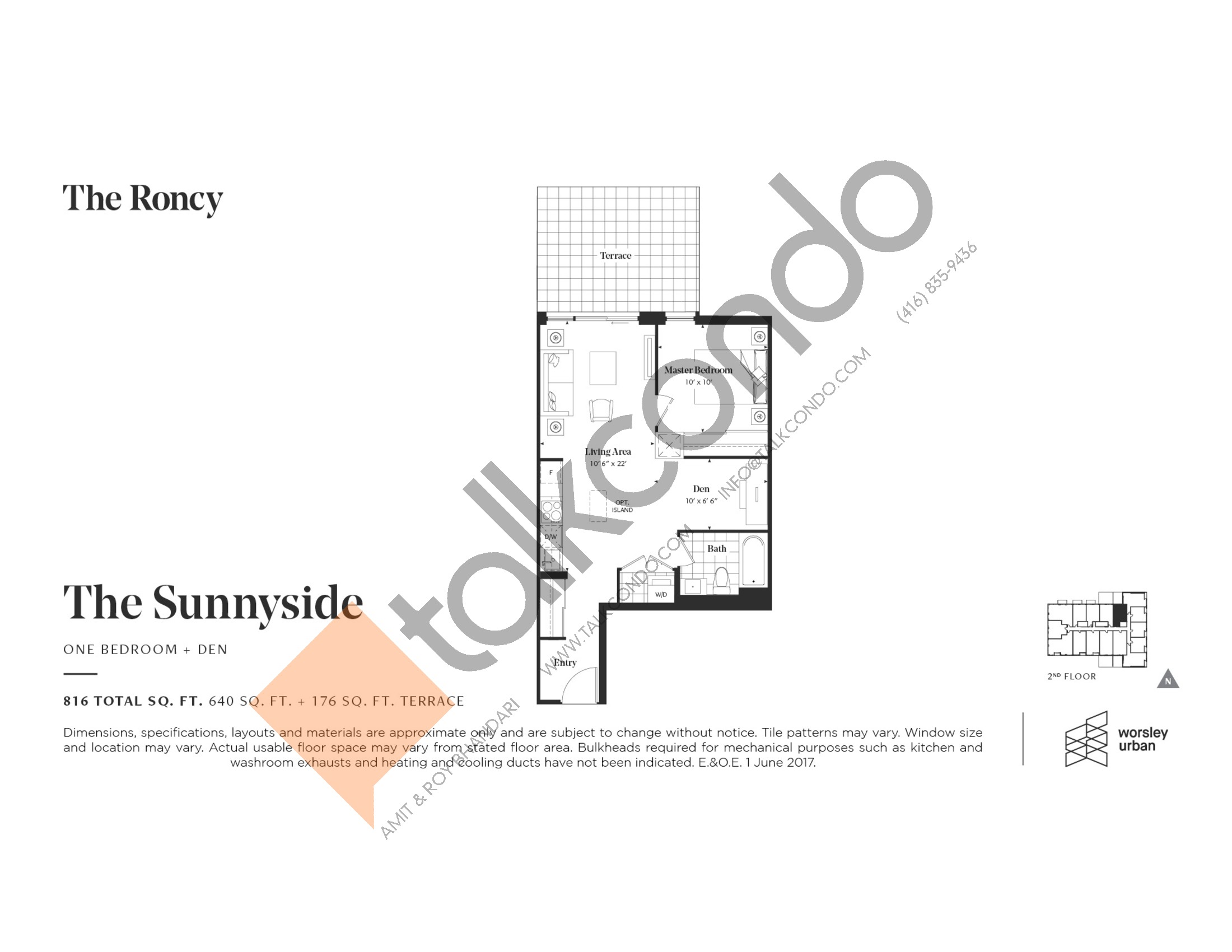 The Sunnyside Floor Plan at The Roncy Condos - 640 sq.ft