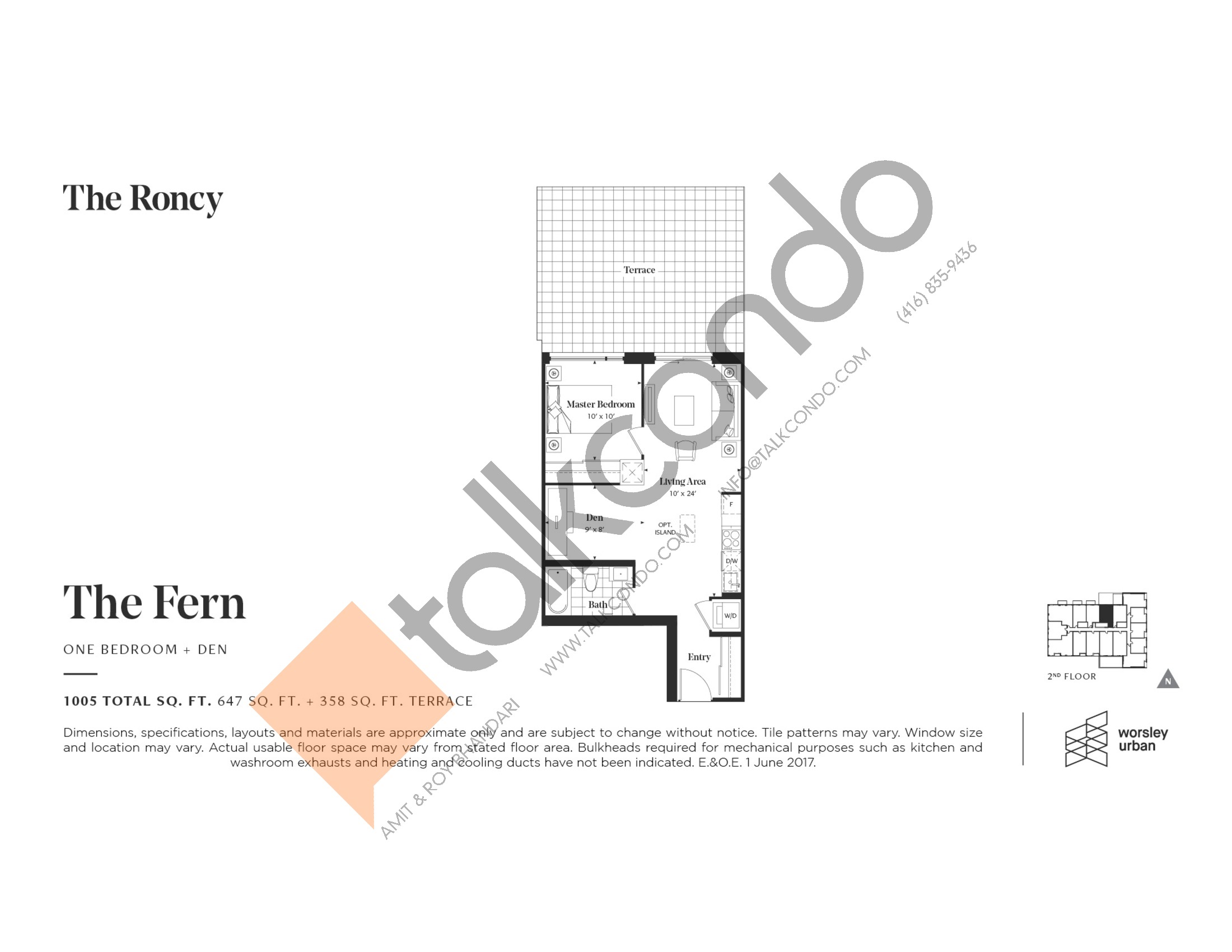 The Fern Floor Plan at The Roncy Condos - 647 sq.ft