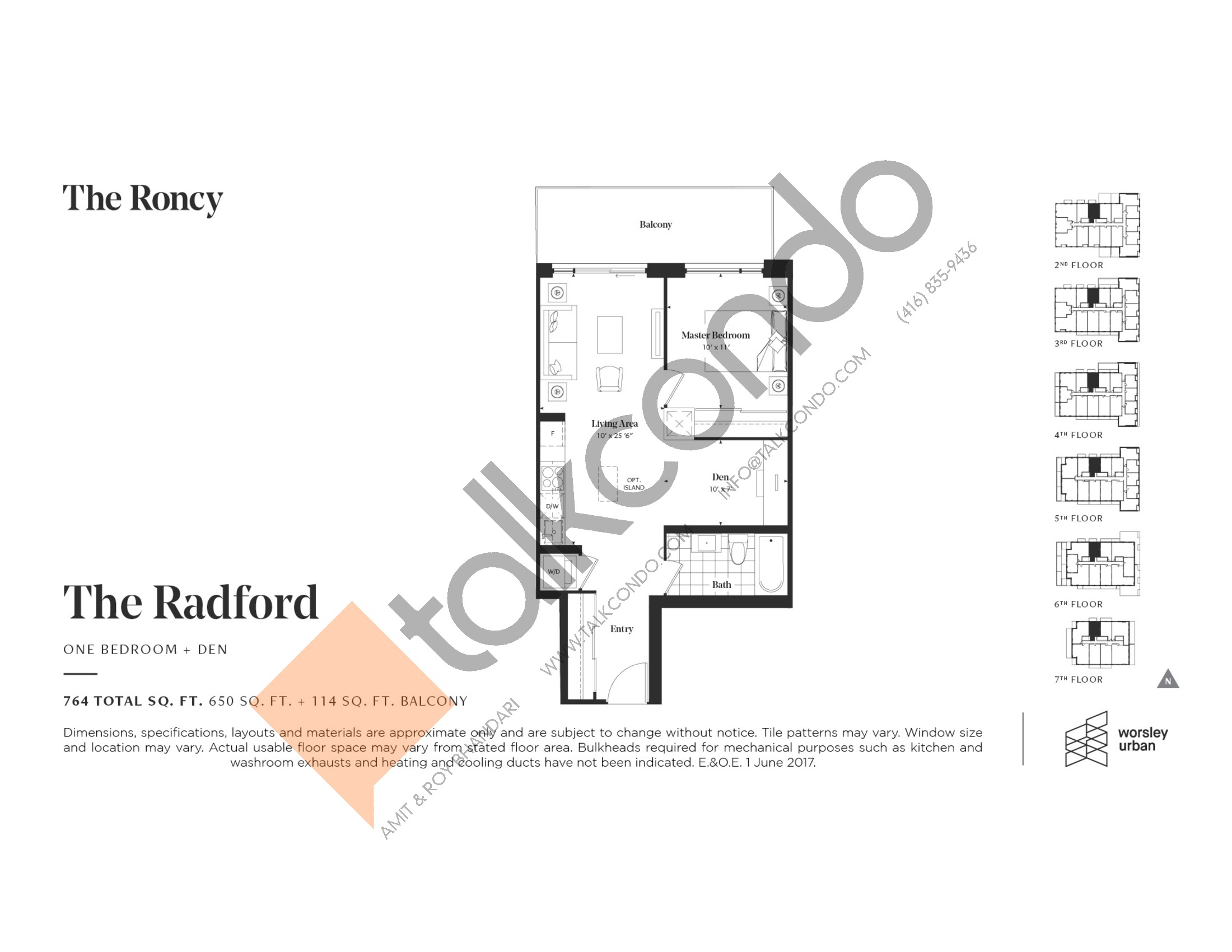 The Radford Floor Plan at The Roncy Condos - 650 sq.ft