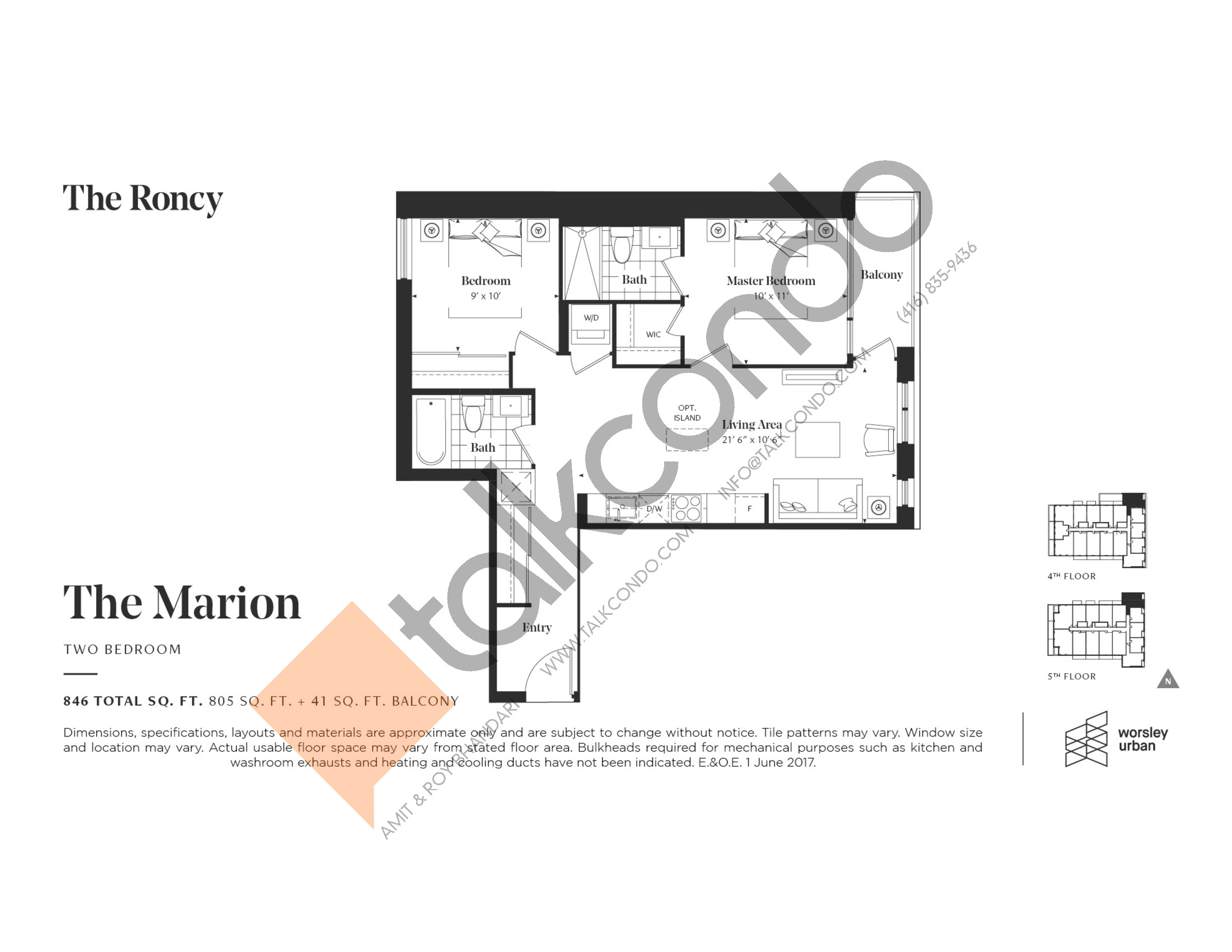 The Marion Floor Plan at The Roncy Condos - 805 sq.ft