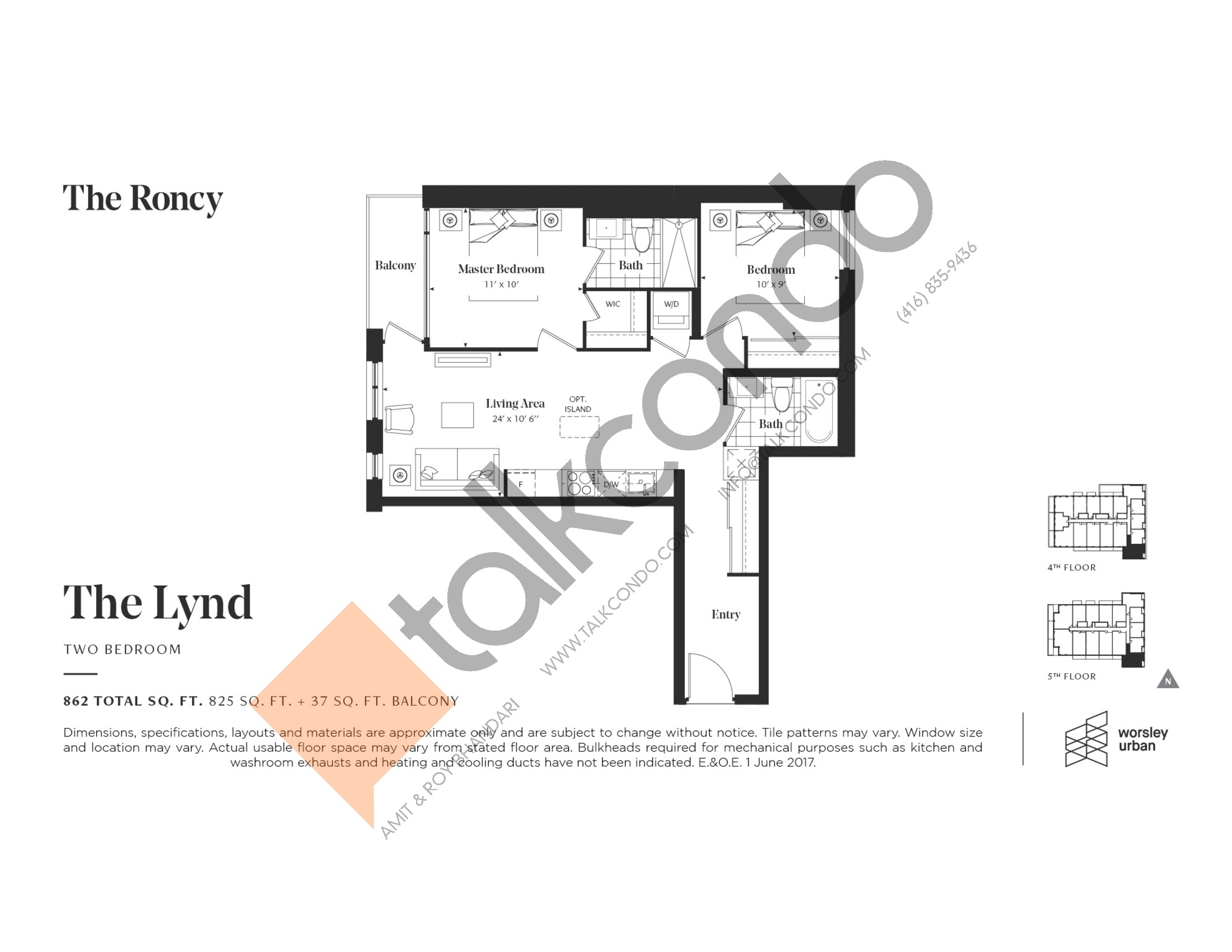 The Lynd Floor Plan at The Roncy Condos - 825 sq.ft
