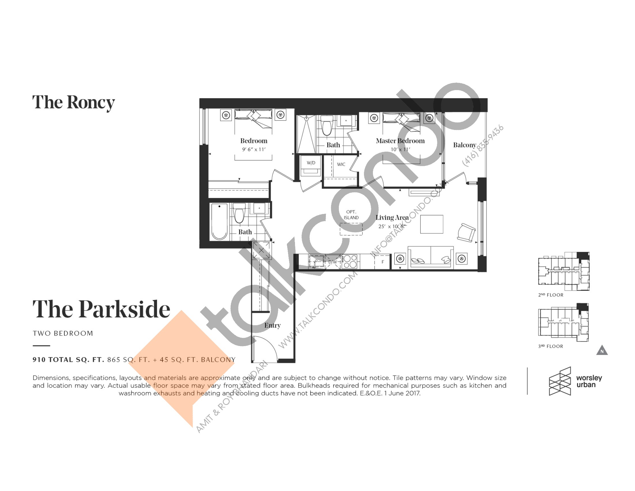 The Parkside Floor Plan at The Roncy Condos - 865 sq.ft