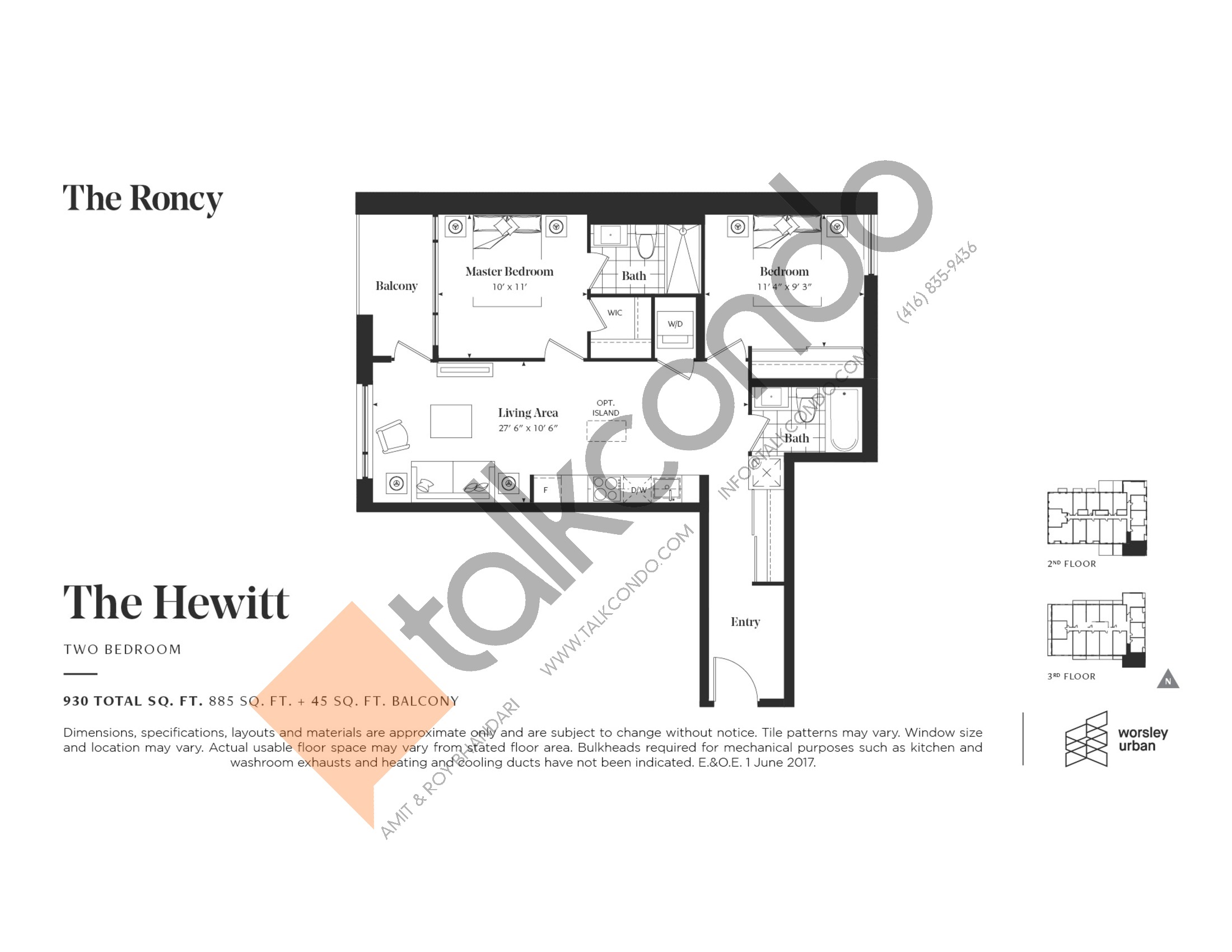 The Hewitt Floor Plan at The Roncy Condos - 885 sq.ft
