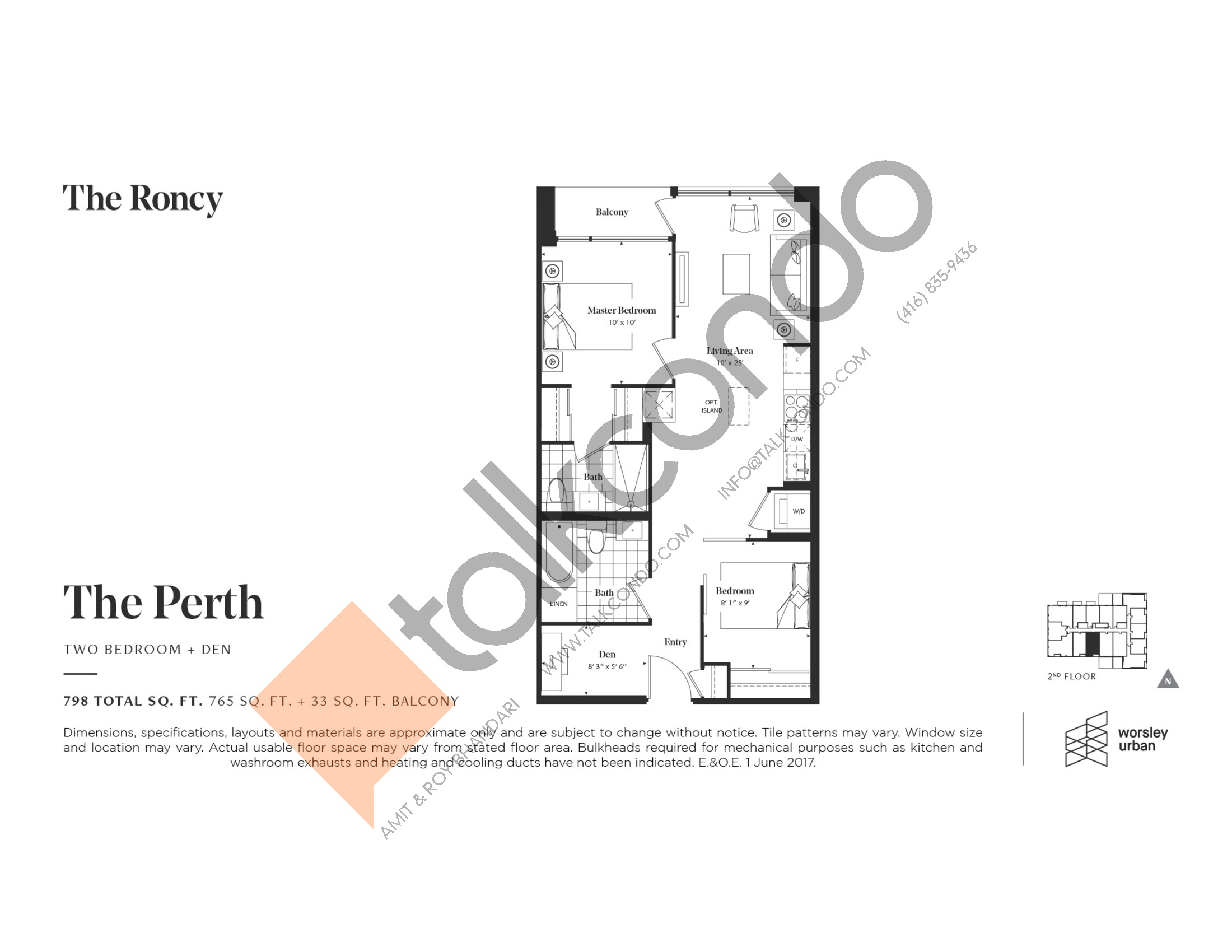 The Perth Floor Plan at The Roncy Condos - 765 sq.ft