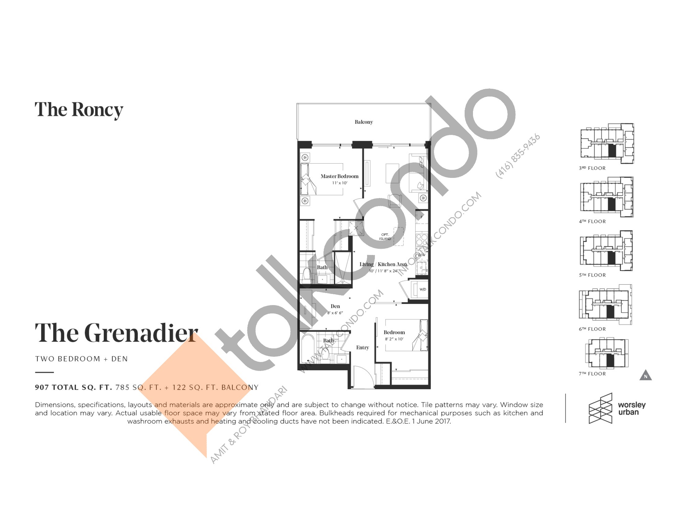 The Grenadier Floor Plan at The Roncy Condos - 785 sq.ft