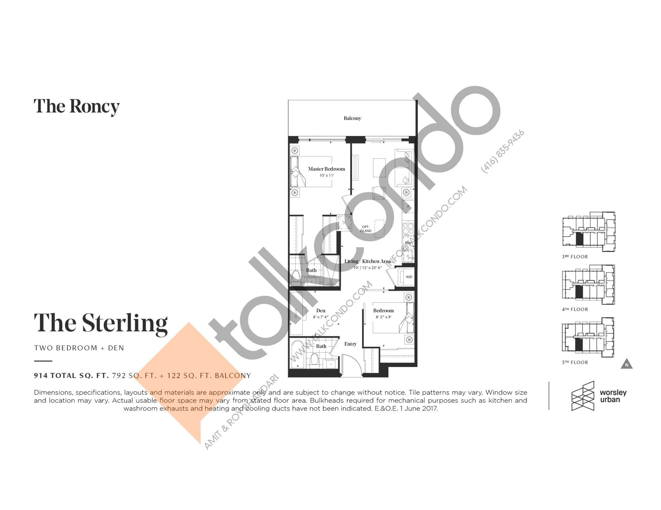 The Sterling Floor Plan at The Roncy Condos - 792 sq.ft
