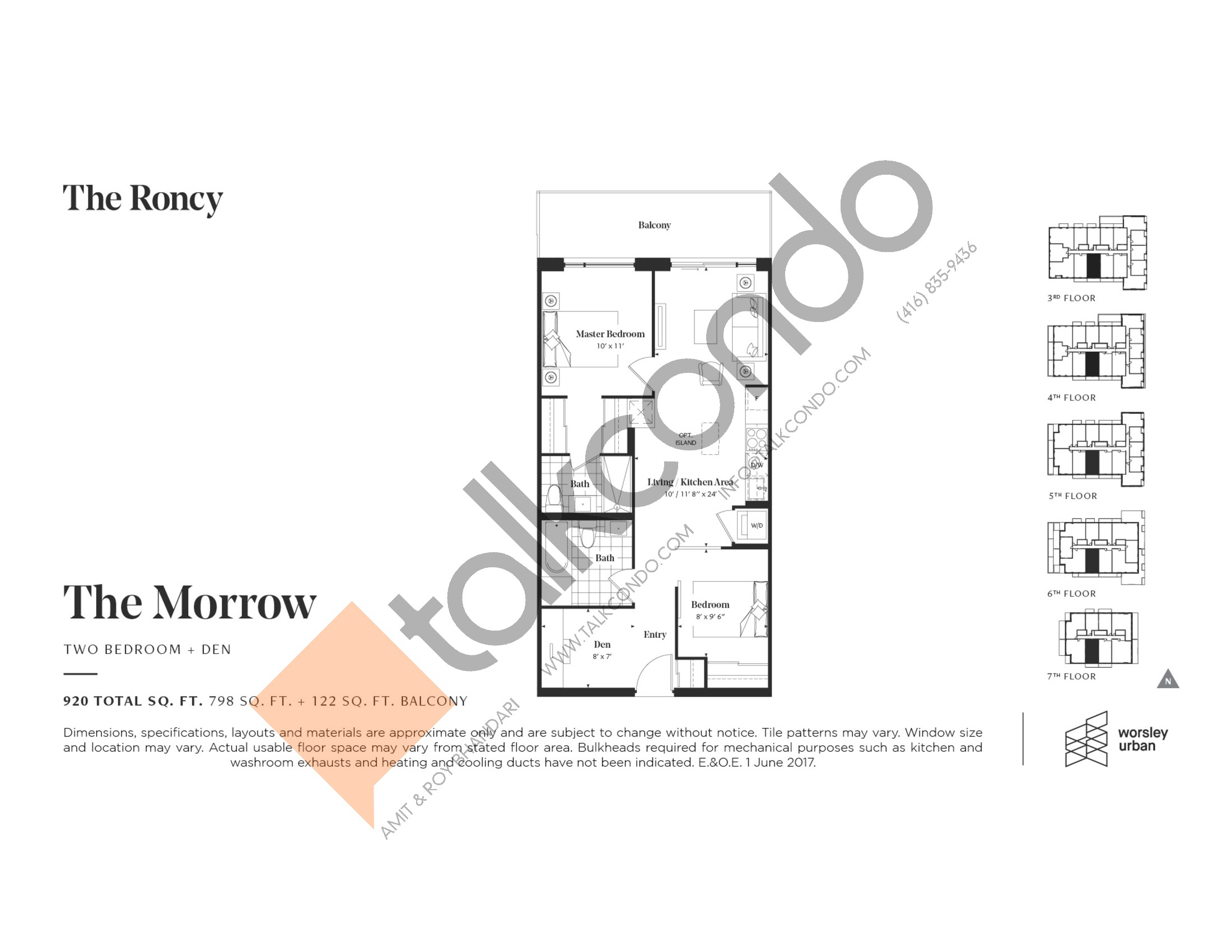 The Morrow Floor Plan at The Roncy Condos - 798 sq.ft