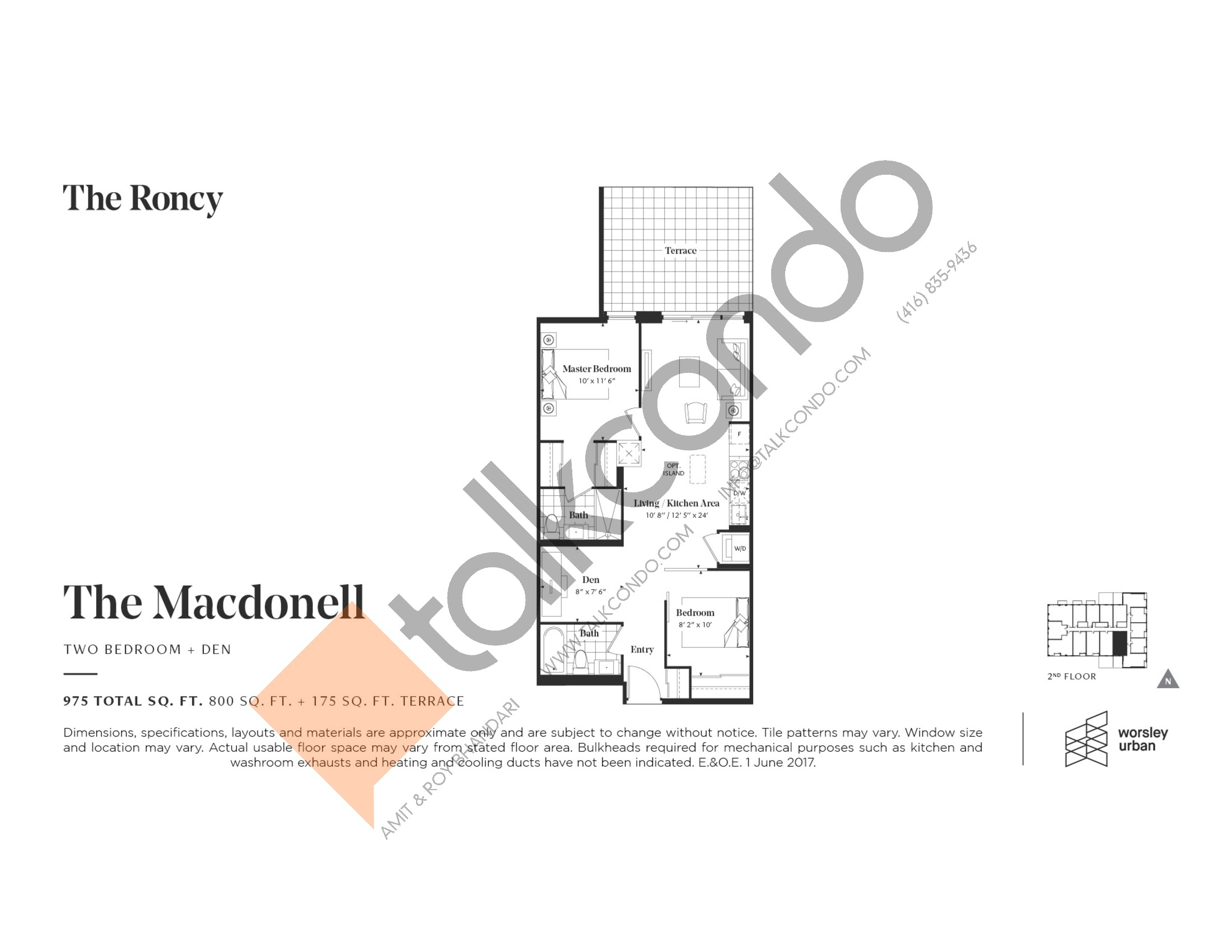 The Macdonell Floor Plan at The Roncy Condos - 800 sq.ft