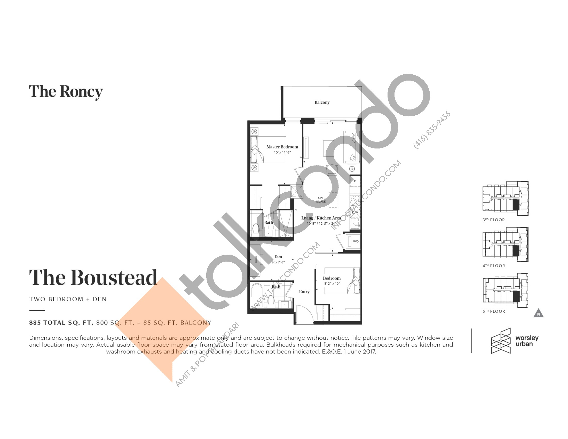 The Boustead Floor Plan at The Roncy Condos - 800 sq.ft
