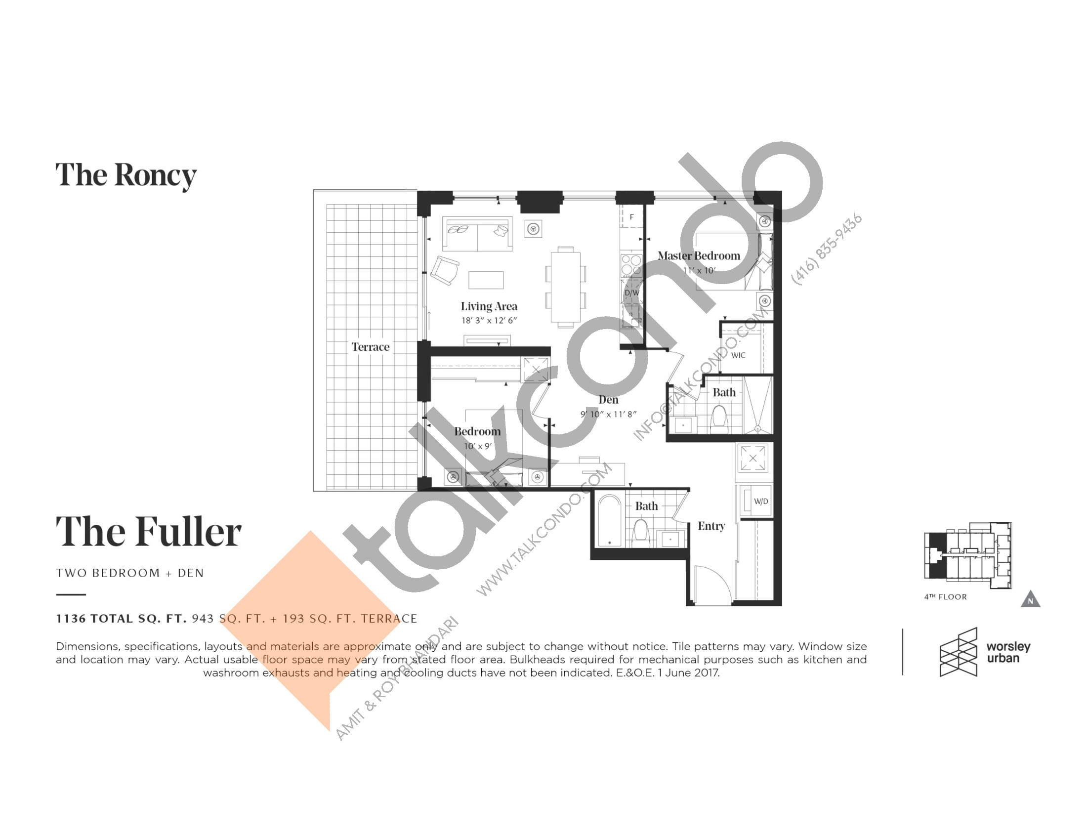 The Fuller Floor Plan at The Roncy Condos - 943 sq.ft