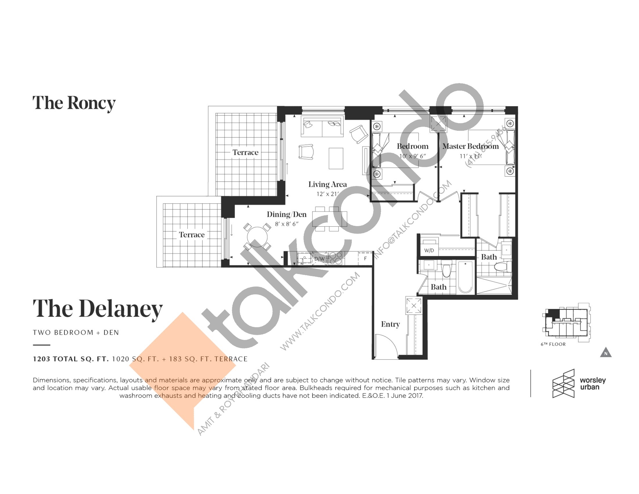 The Delaney Floor Plan at The Roncy Condos - 1020 sq.ft
