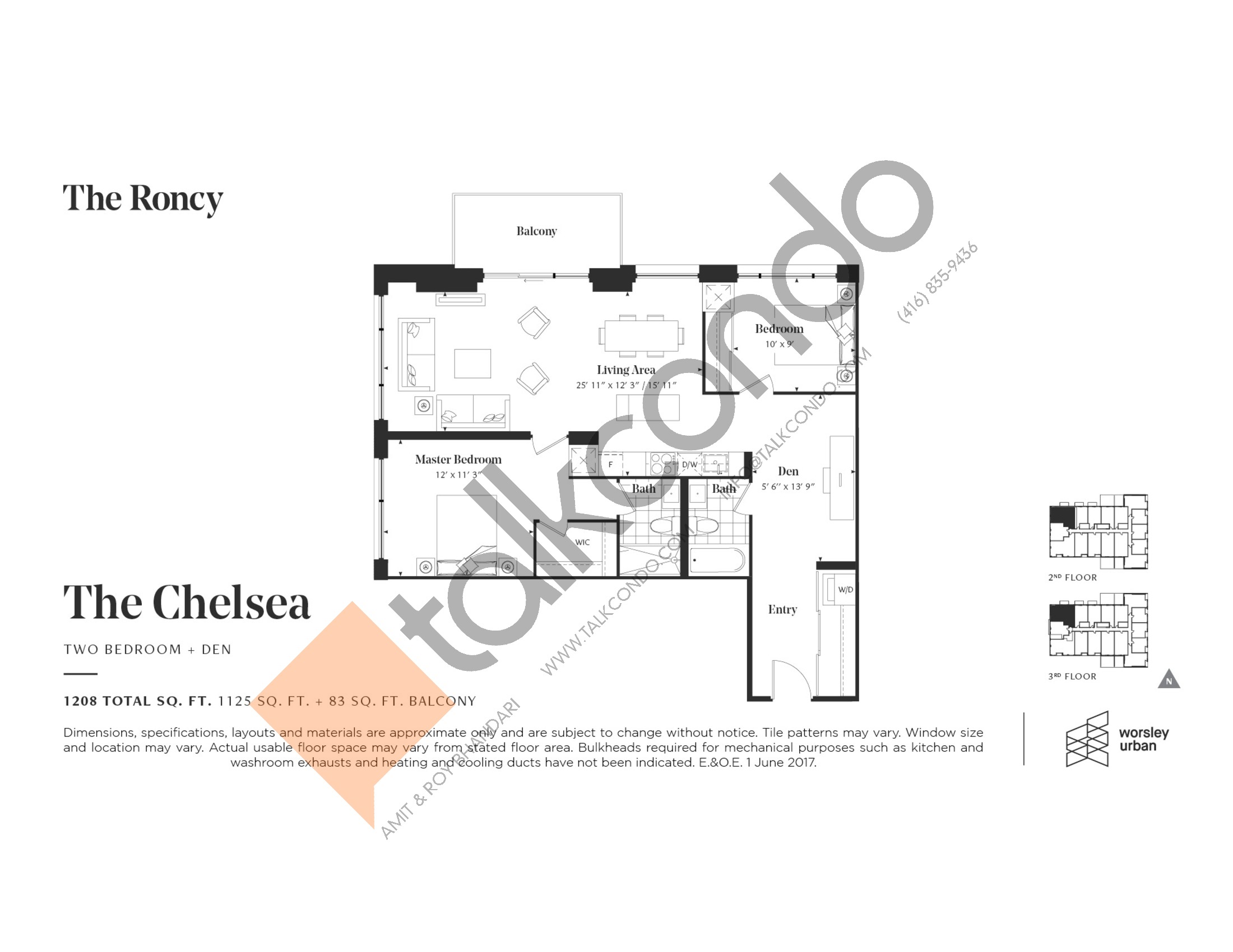 The Chelsea Floor Plan at The Roncy Condos - 1125 sq.ft