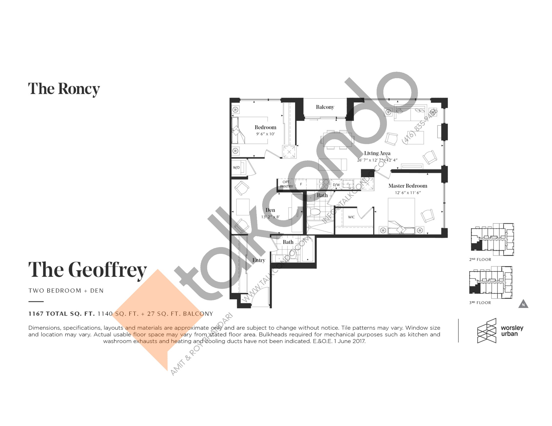 The Geoffrey Floor Plan at The Roncy Condos - 1140 sq.ft