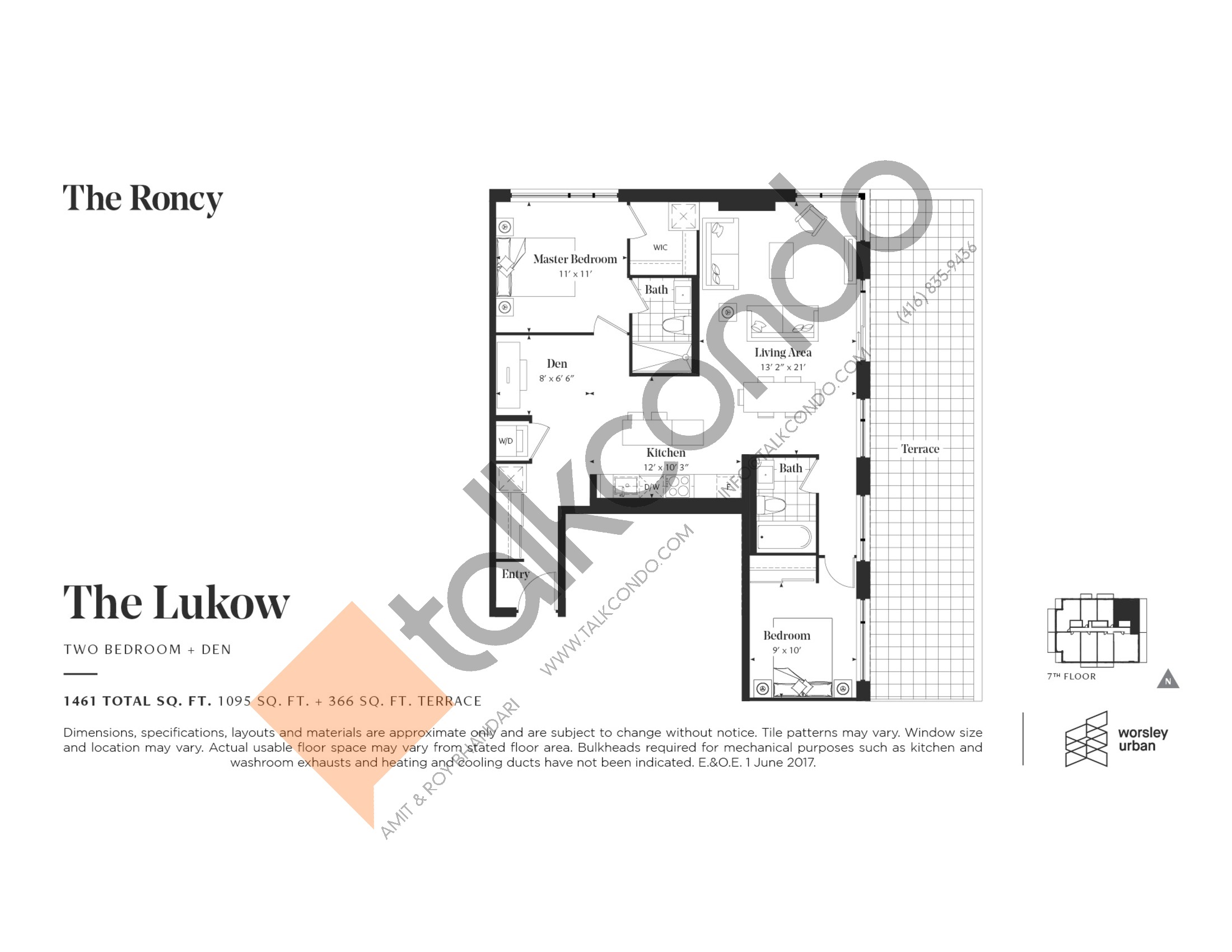 The Lukow Floor Plan at The Roncy Condos - 1095 sq.ft