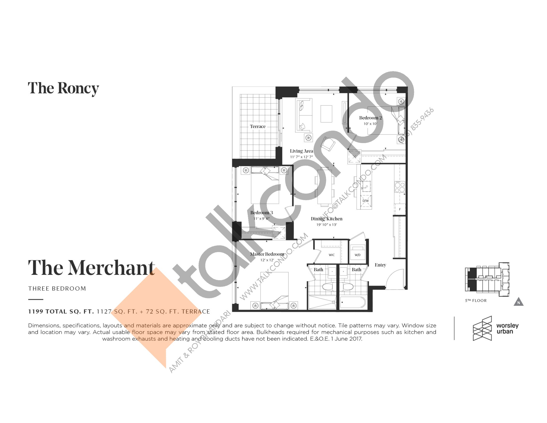 The Merchant Floor Plan at The Roncy Condos - 1127 sq.ft