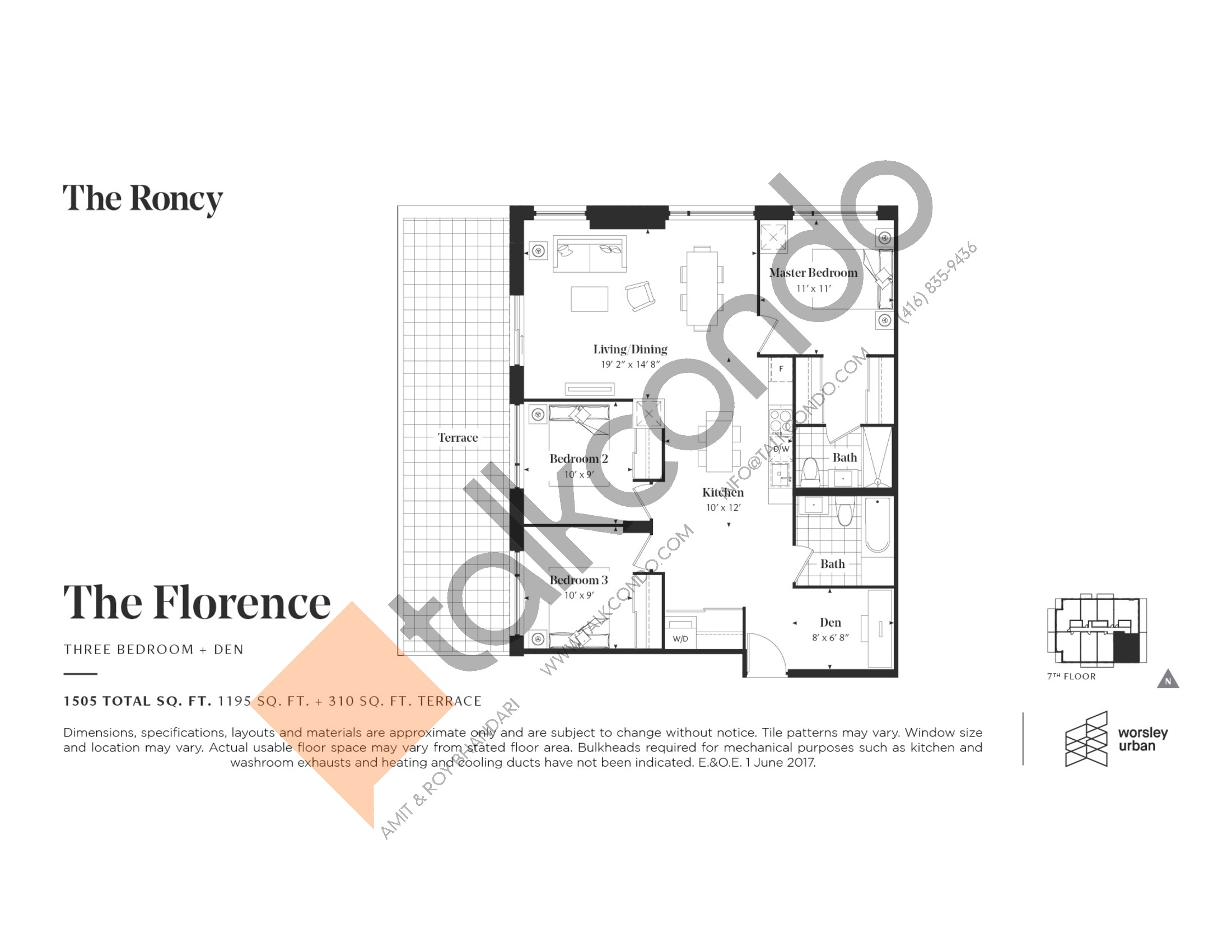 The Florence Floor Plan at The Roncy Condos - 1195 sq.ft