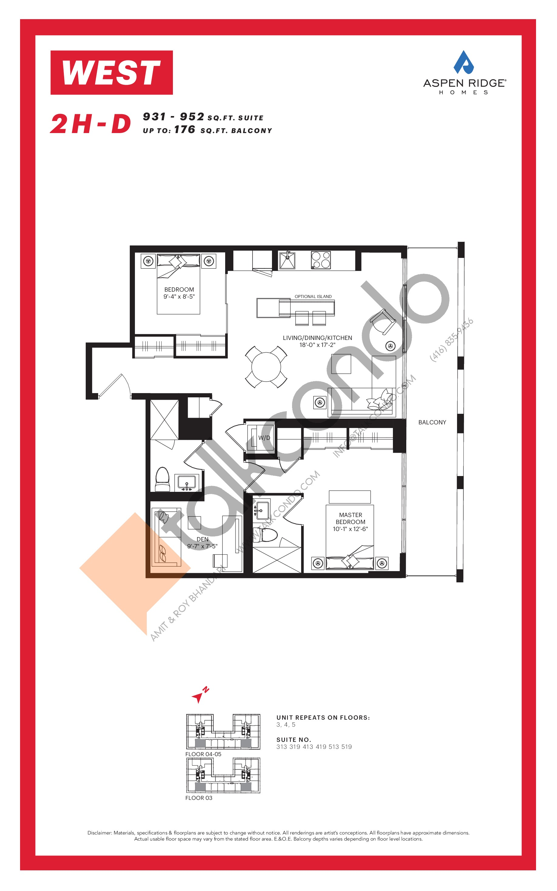 2H-D Floor Plan at WEST Condos - 952 sq.ft