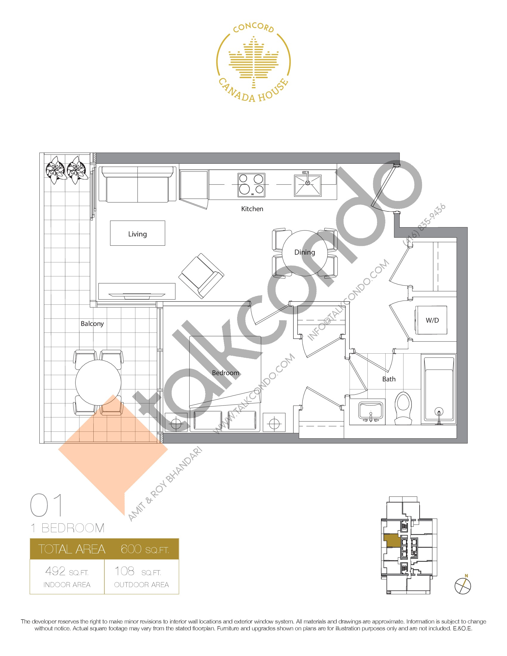 01 - West Tower Floor Plan at Concord Canada House Condos - 492 sq.ft
