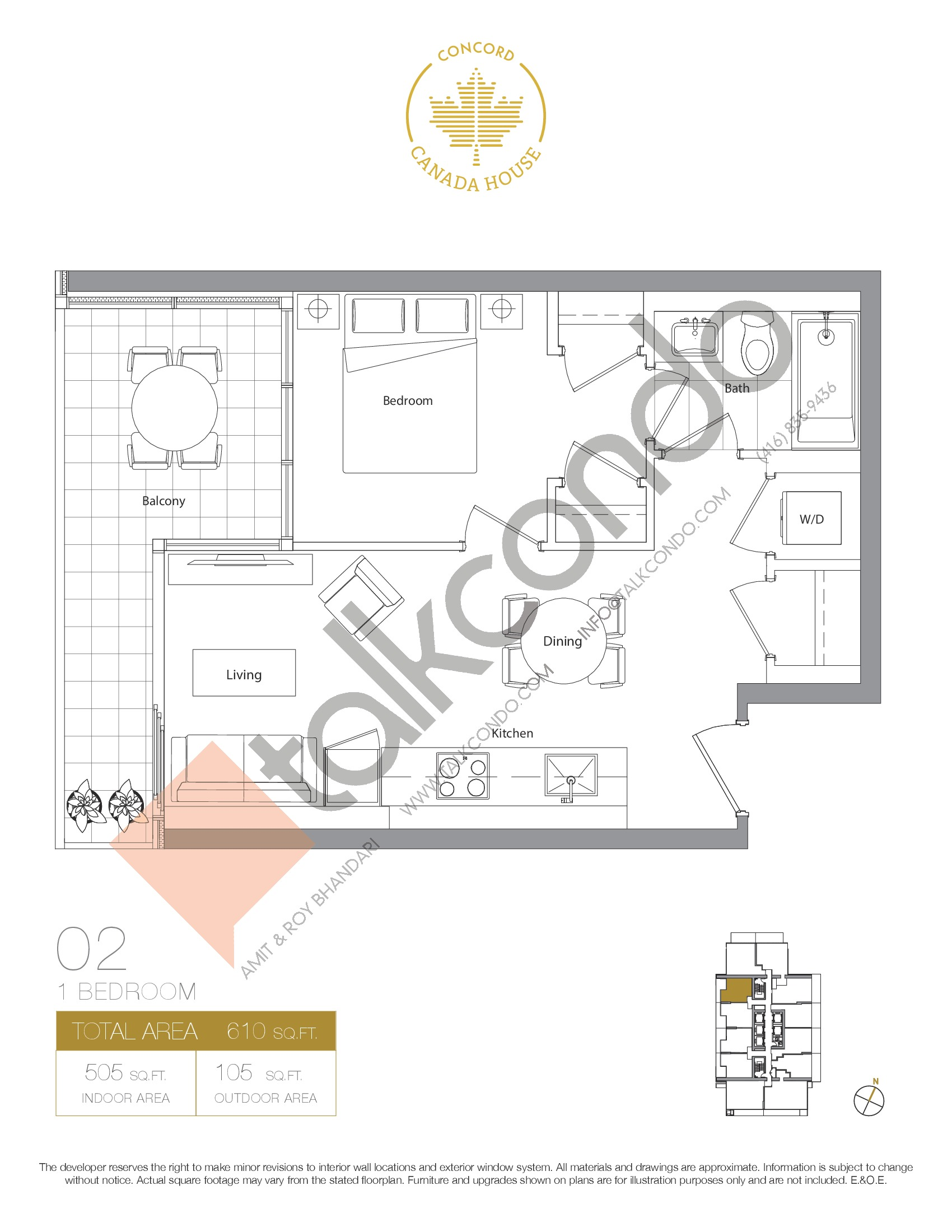 02 - West Tower Floor Plan at Concord Canada House Condos - 505 sq.ft