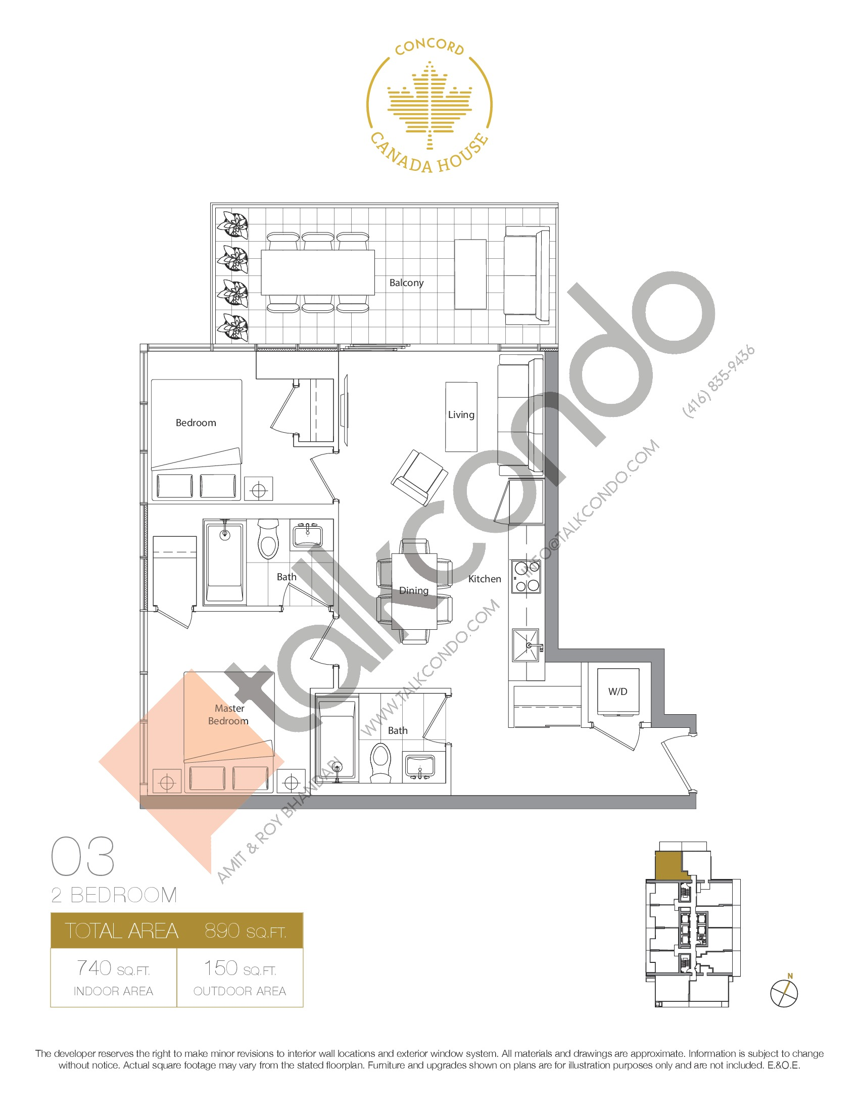 03 - West Tower Floor Plan at Concord Canada House Condos - 740 sq.ft