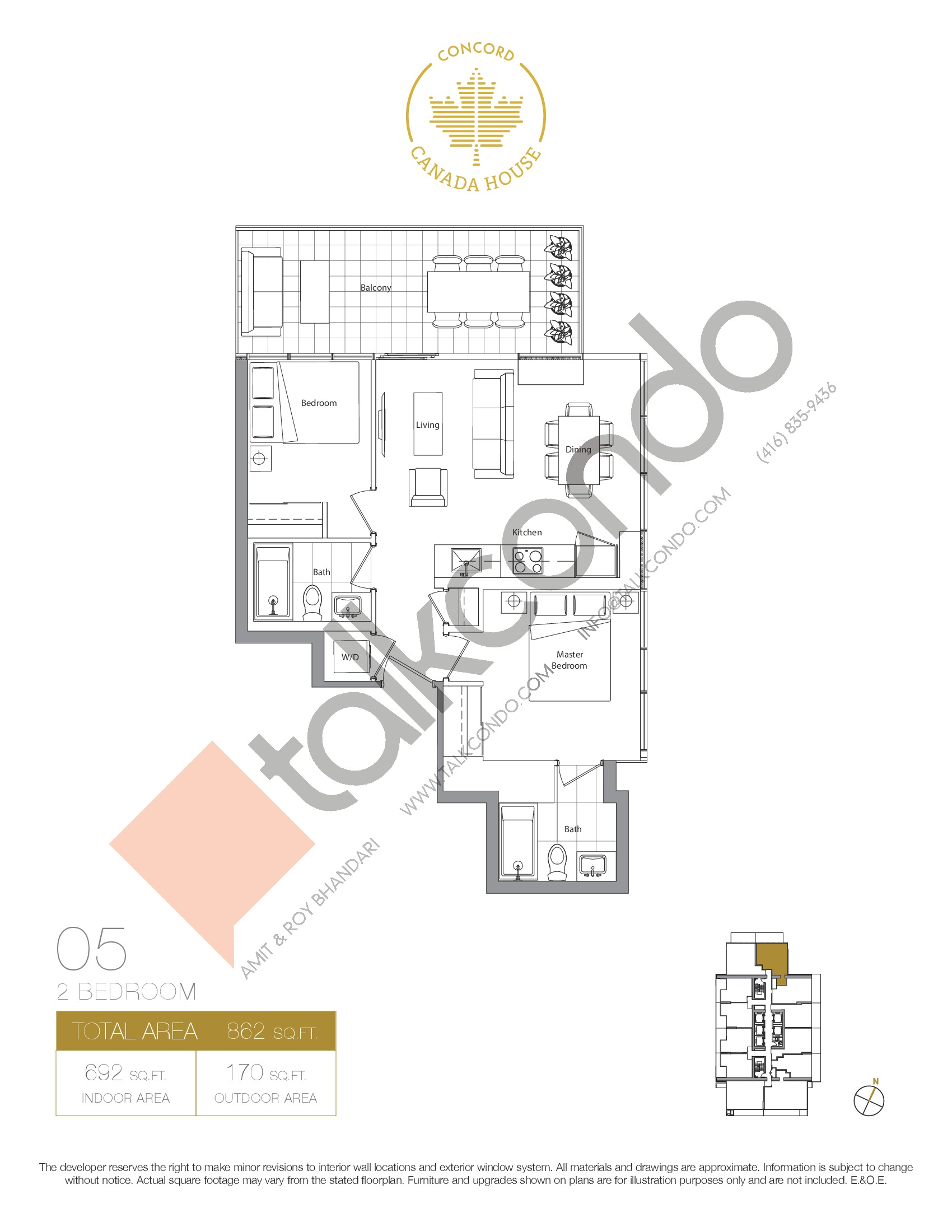 05 - West Tower Floor Plan at Concord Canada House Condos - 692 sq.ft