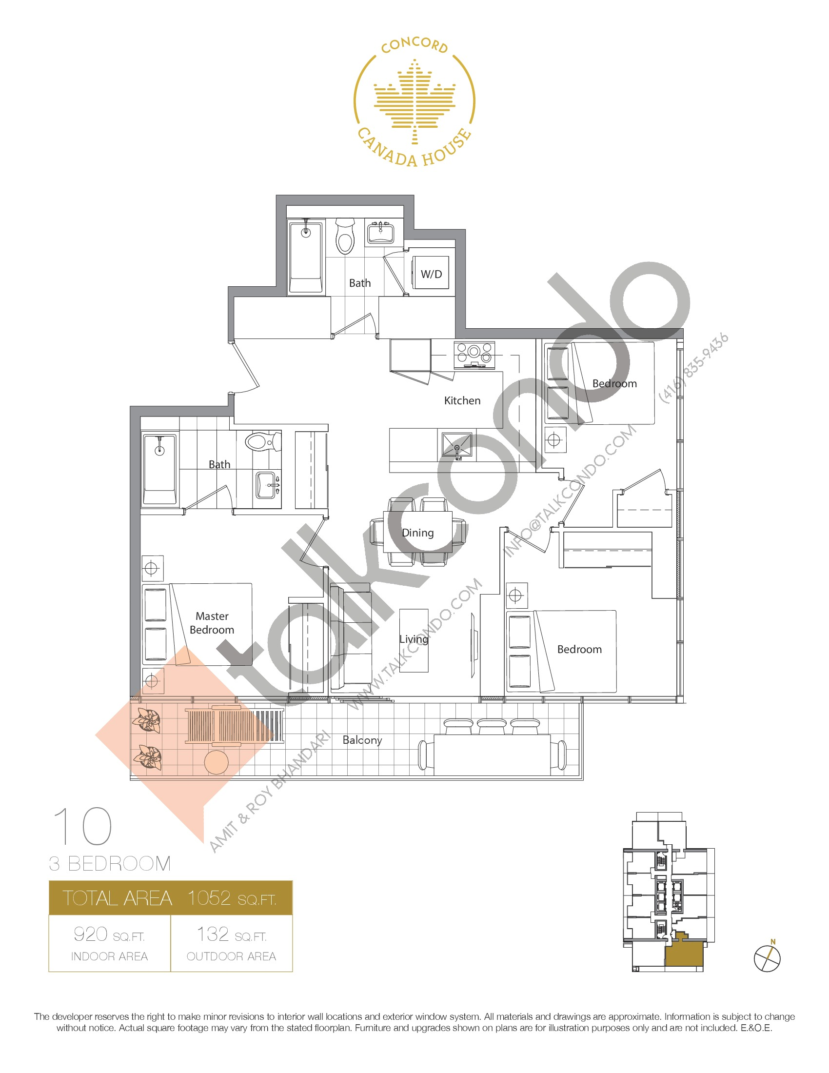 10 - West Tower Floor Plan at Concord Canada House Condos - 920 sq.ft