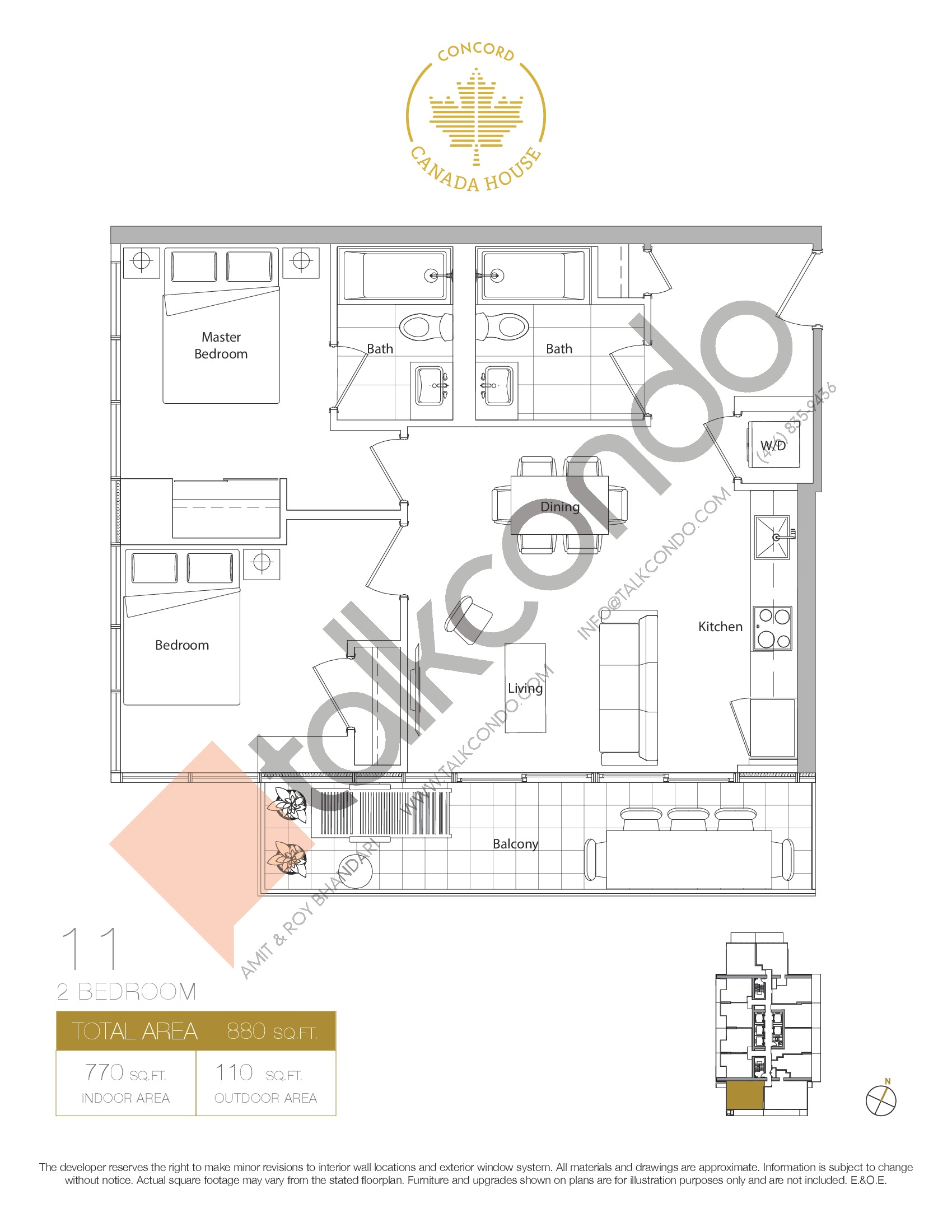 11 - West Tower Floor Plan at Concord Canada House Condos - 770 sq.ft