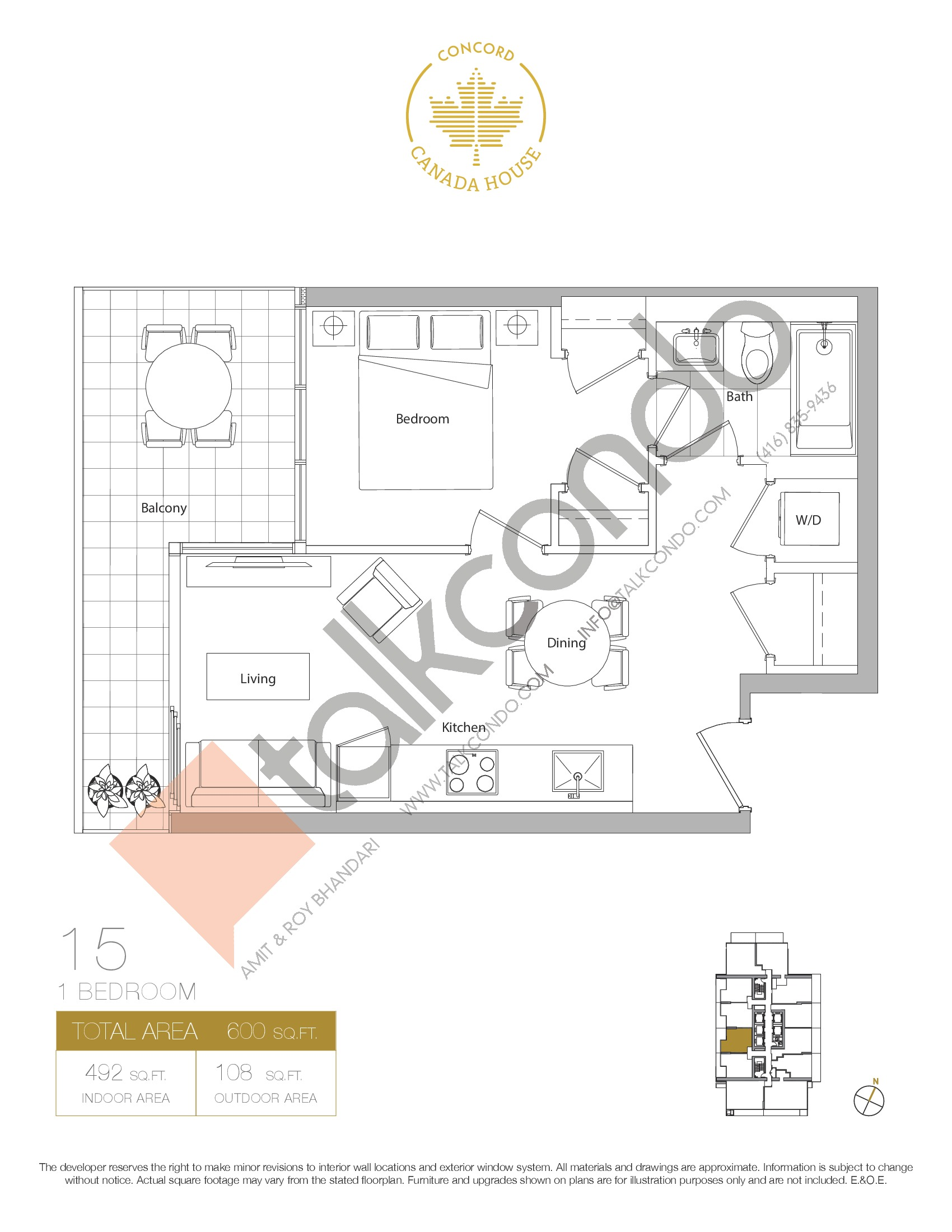 15 - West Tower Floor Plan at Concord Canada House Condos - 492 sq.ft