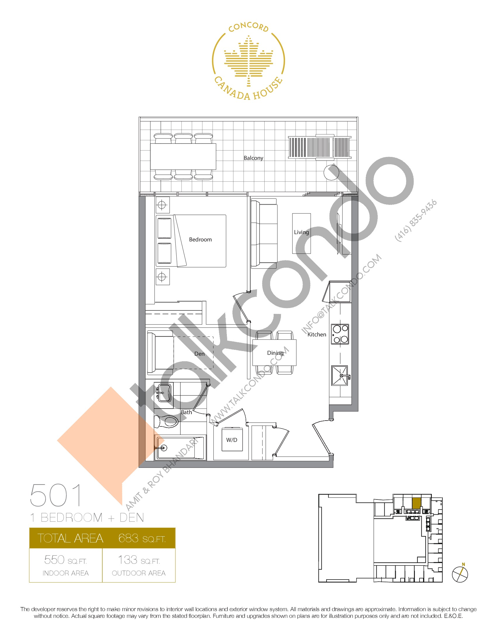 501 - West Tower Floor Plan at Concord Canada House Condos - 550 sq.ft