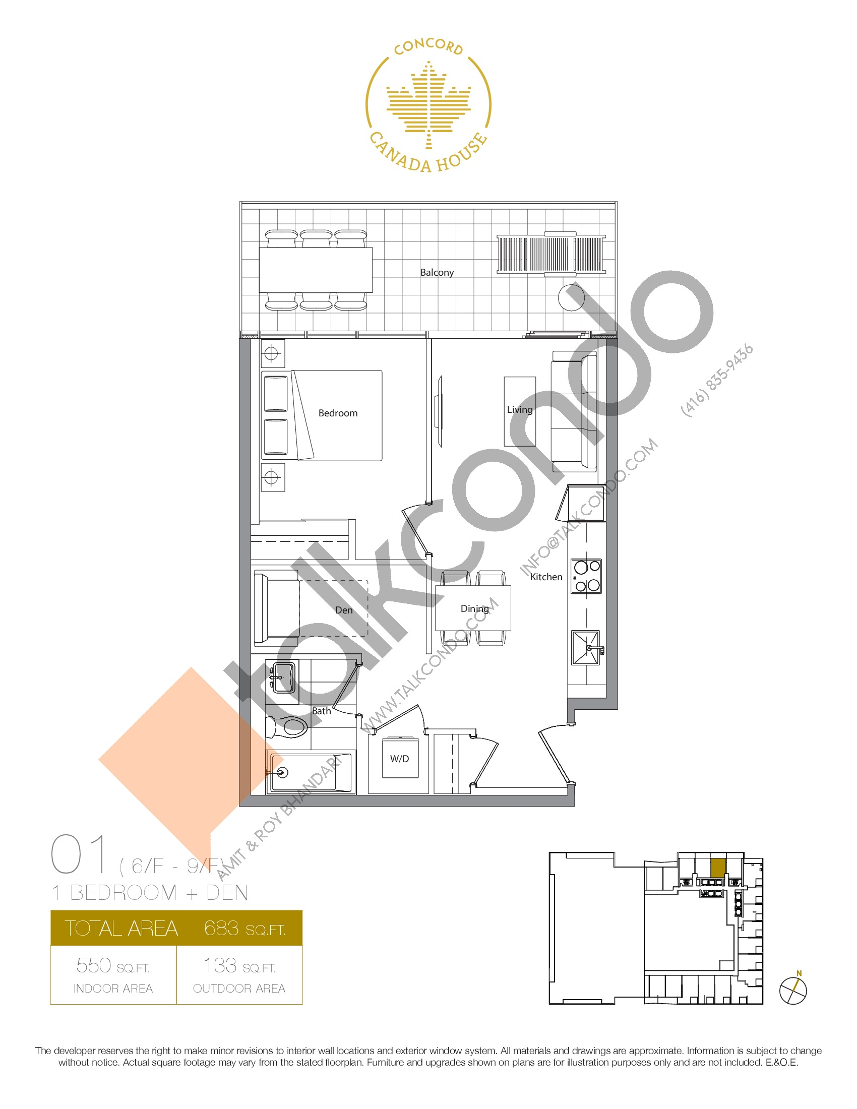 01 - West Tower Floor Plan at Concord Canada House Condos - 550 sq.ft