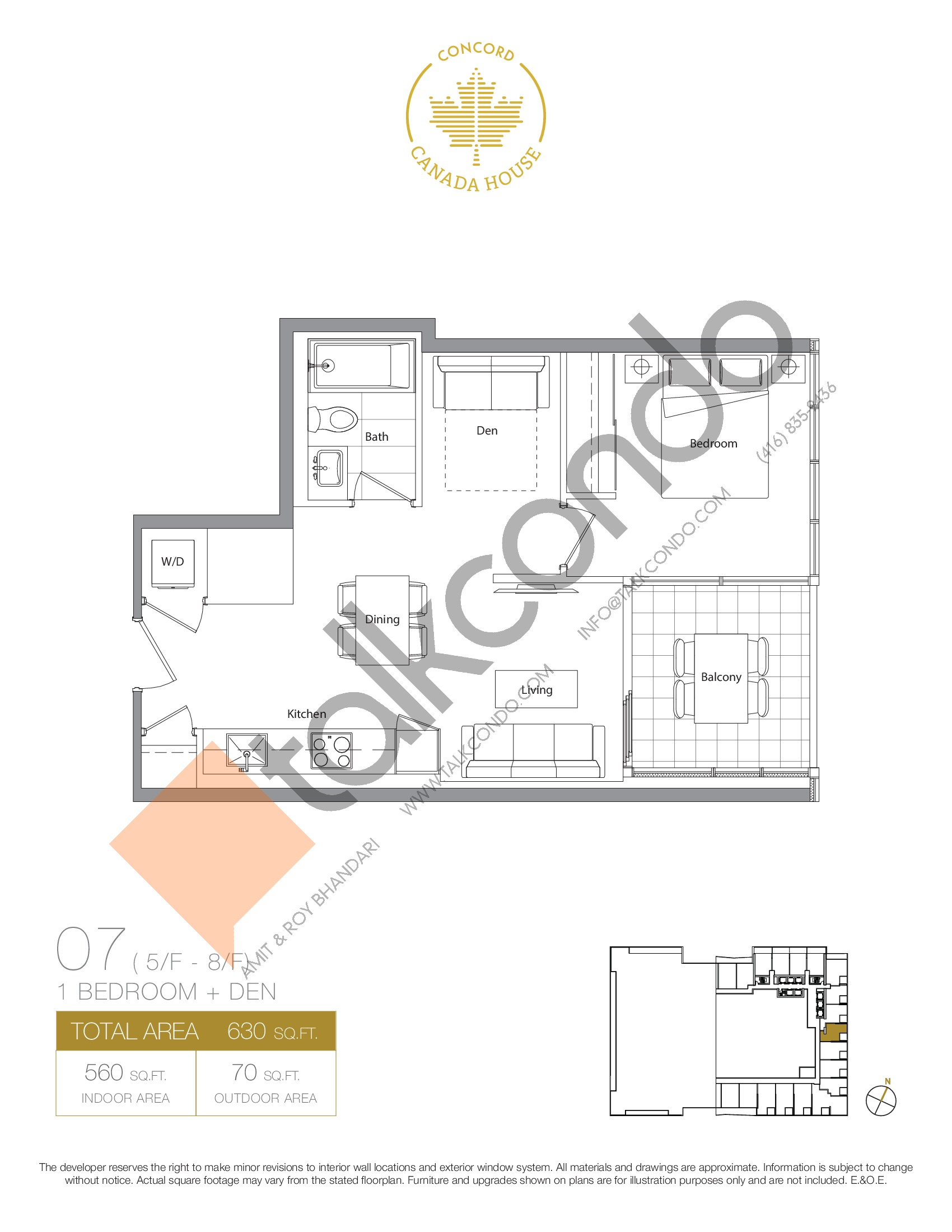 07 - West Tower Floor Plan at Concord Canada House Condos - 560 sq.ft