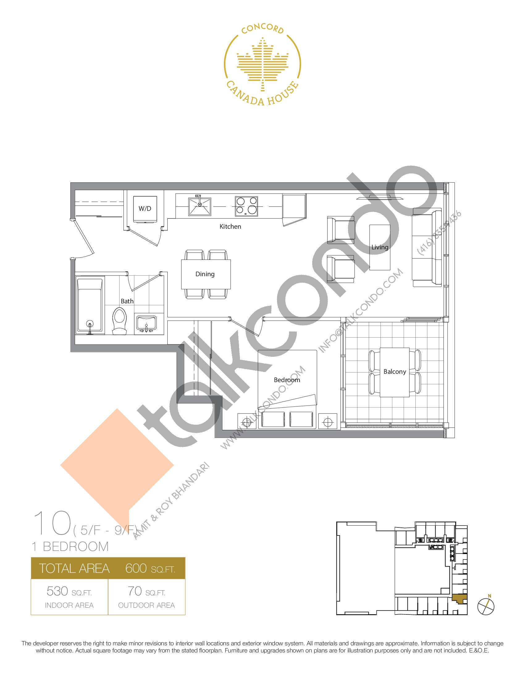 10 - West Tower Floor Plan at Concord Canada House Condos - 530 sq.ft