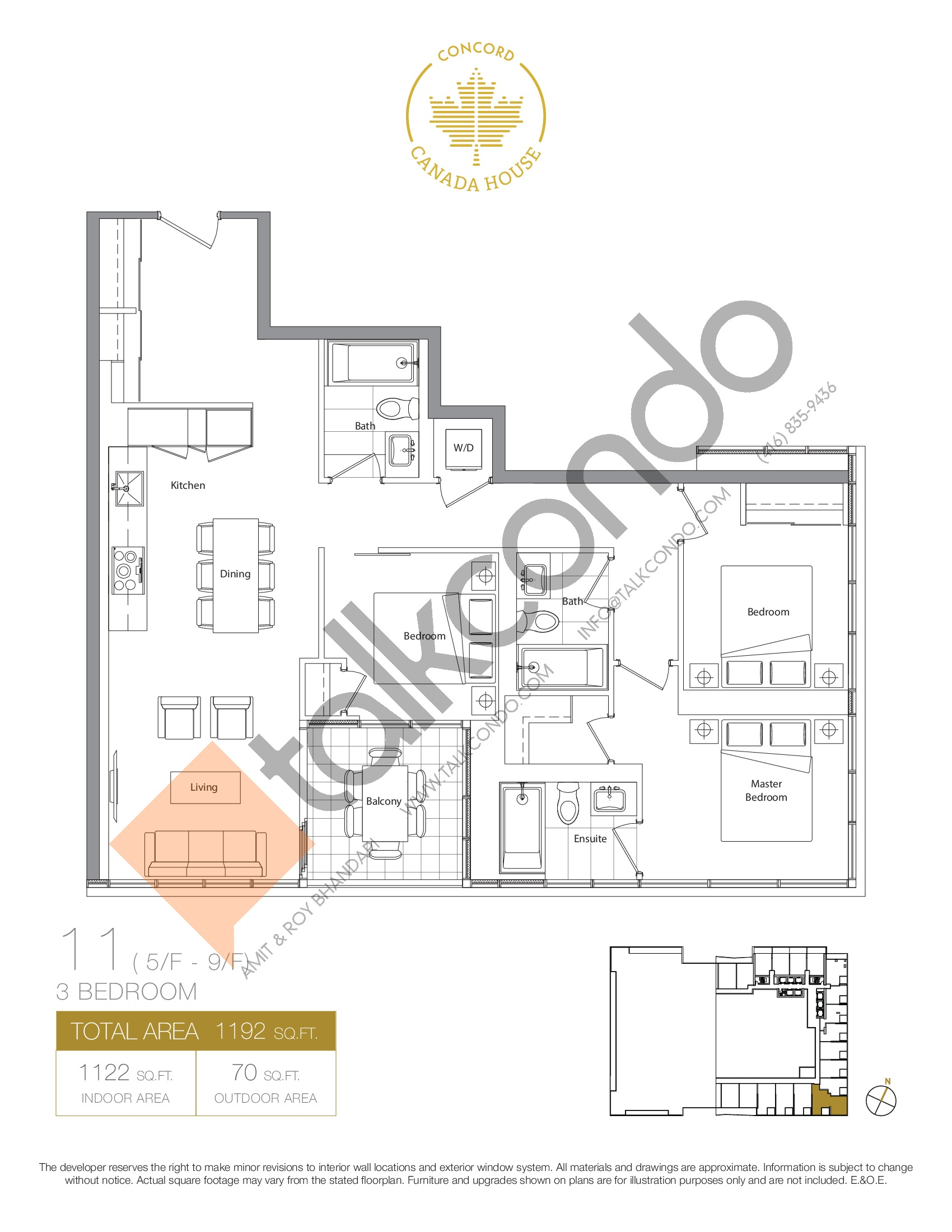 11 - East Tower Floor Plan at Concord Canada House Condos - 1122 sq.ft