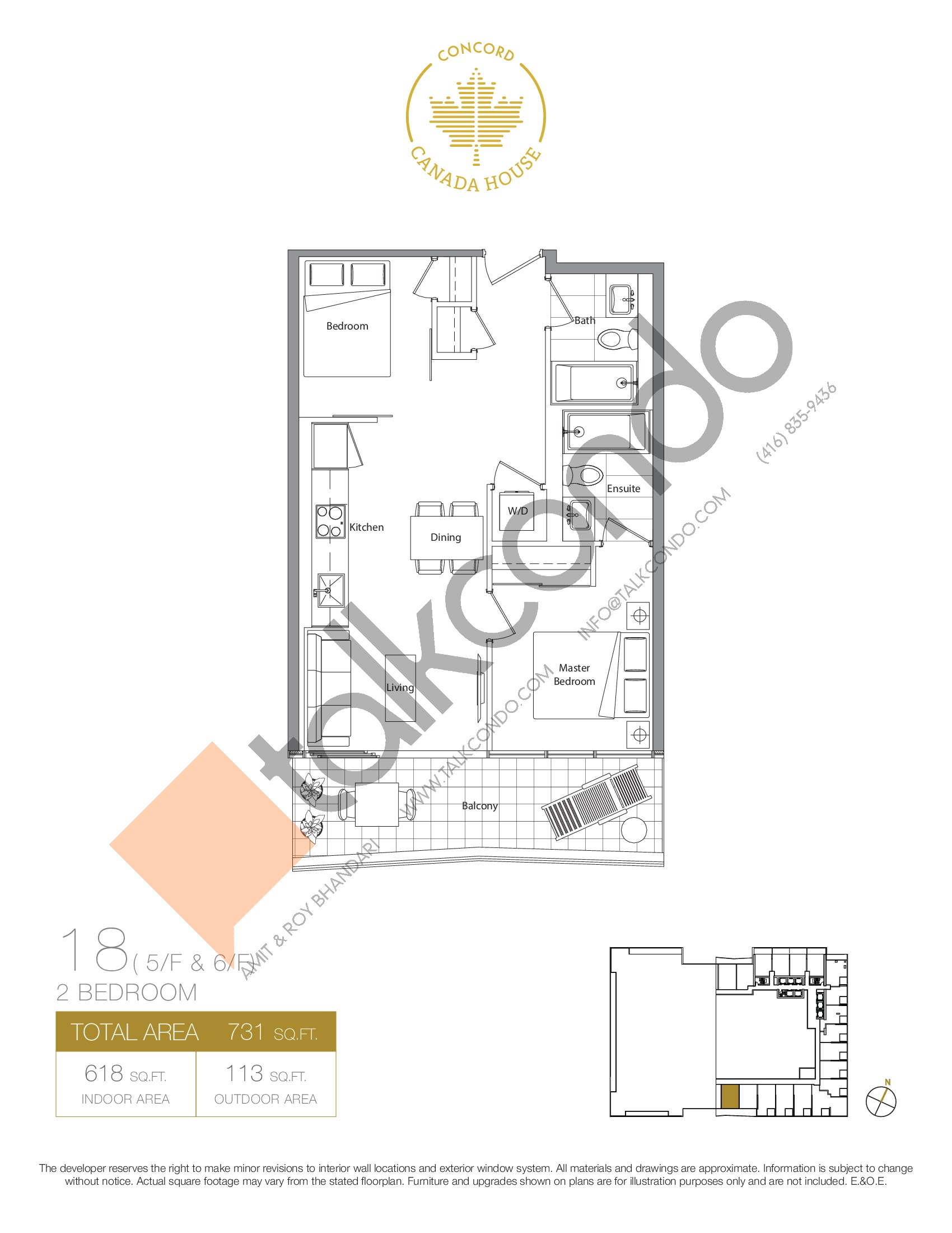 18 - East Tower Floor Plan at Concord Canada House Condos - 618 sq.ft