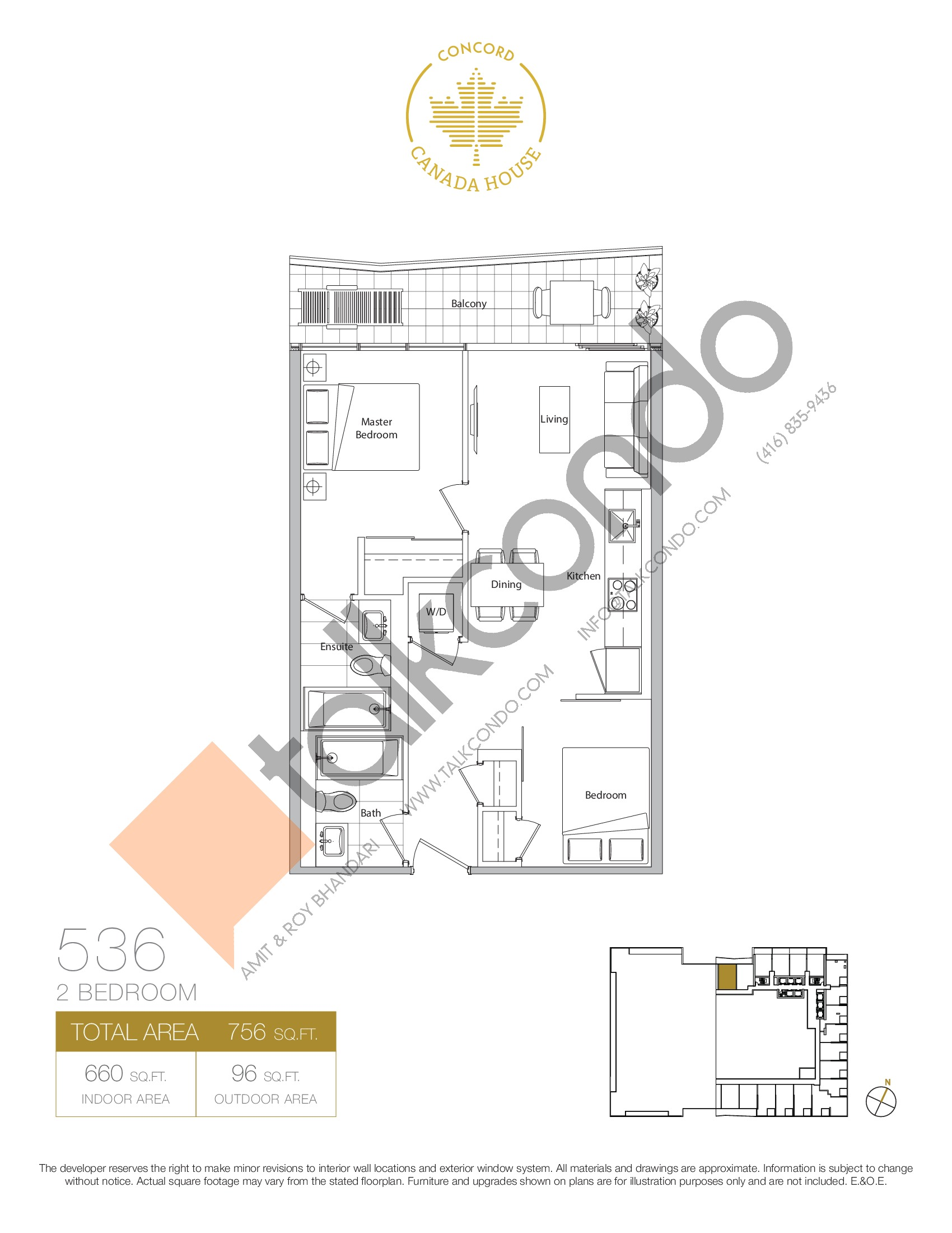 536 - East Tower Floor Plan at Concord Canada House Condos - 660 sq.ft