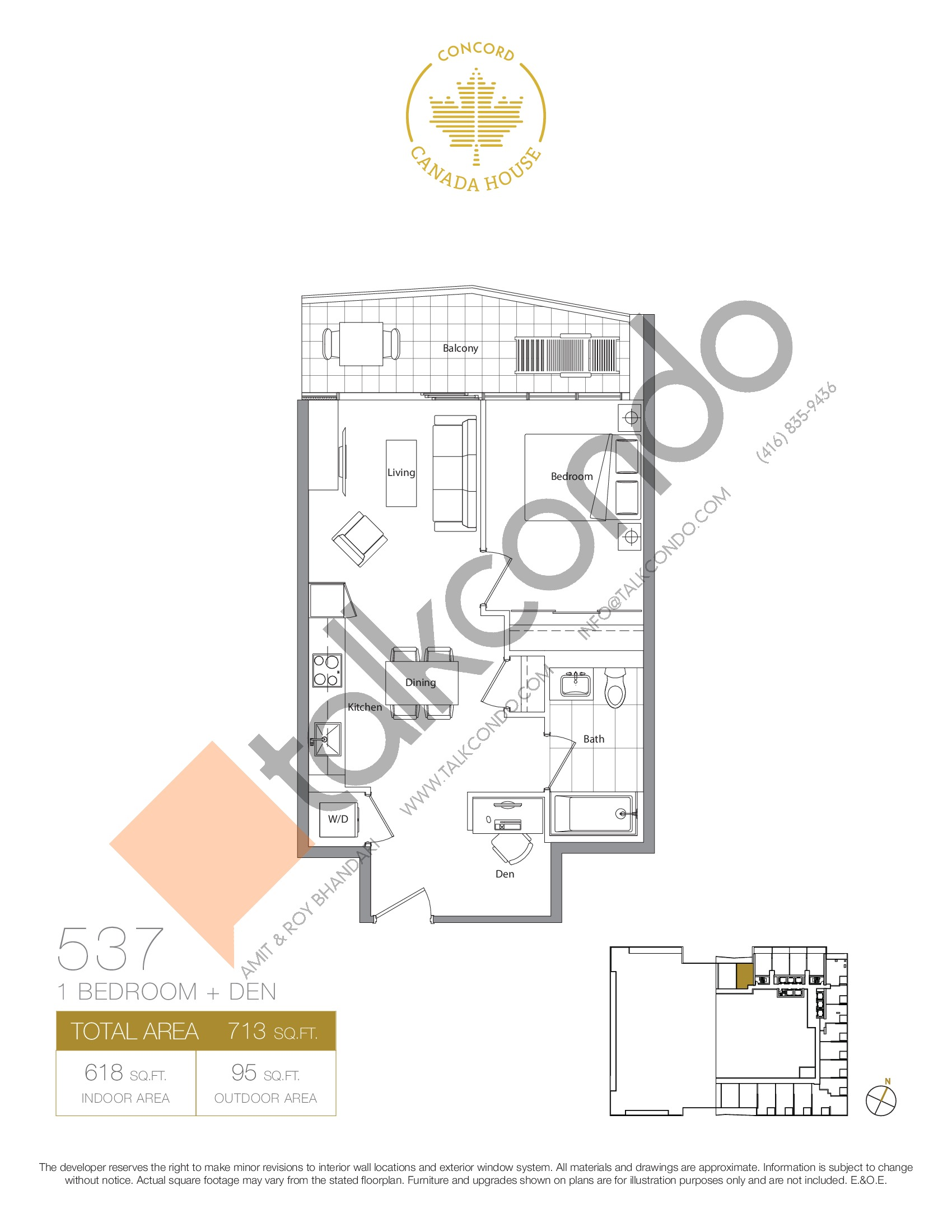 537 - East Tower Floor Plan at Concord Canada House Condos - 618 sq.ft