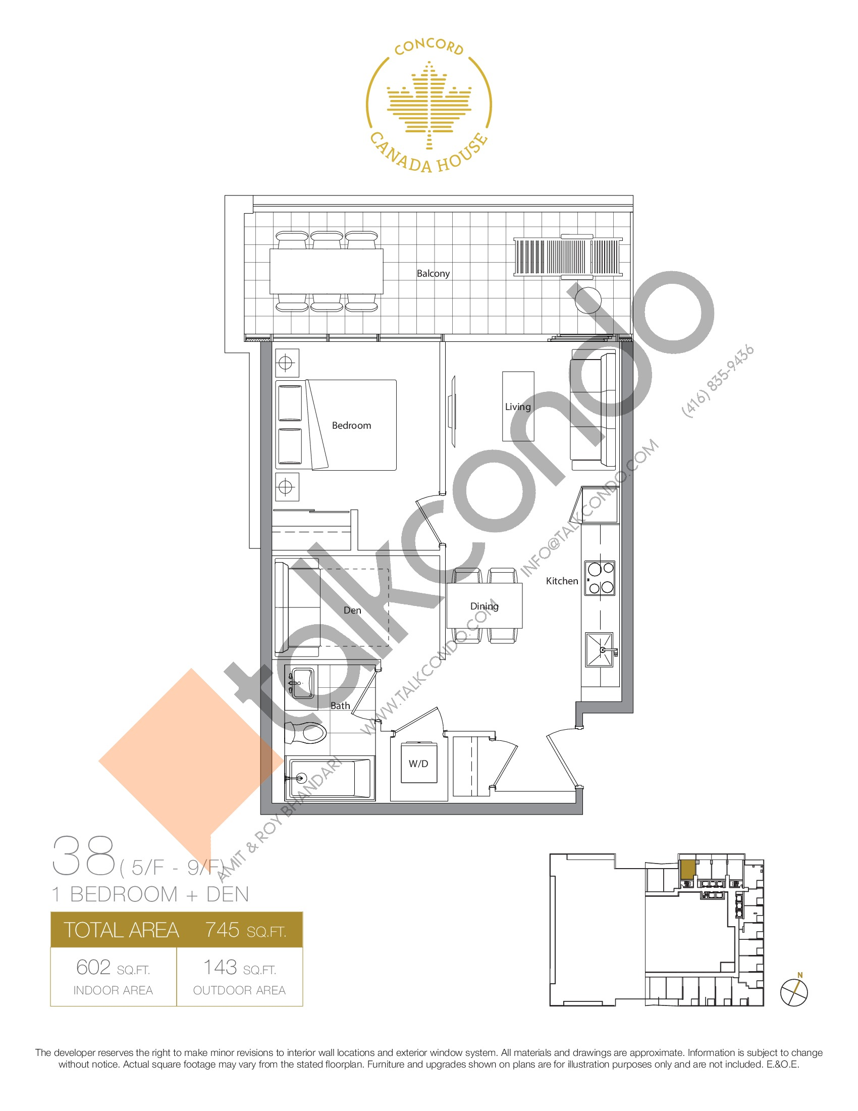 38 - East Tower Floor Plan at Concord Canada House Condos - 602 sq.ft