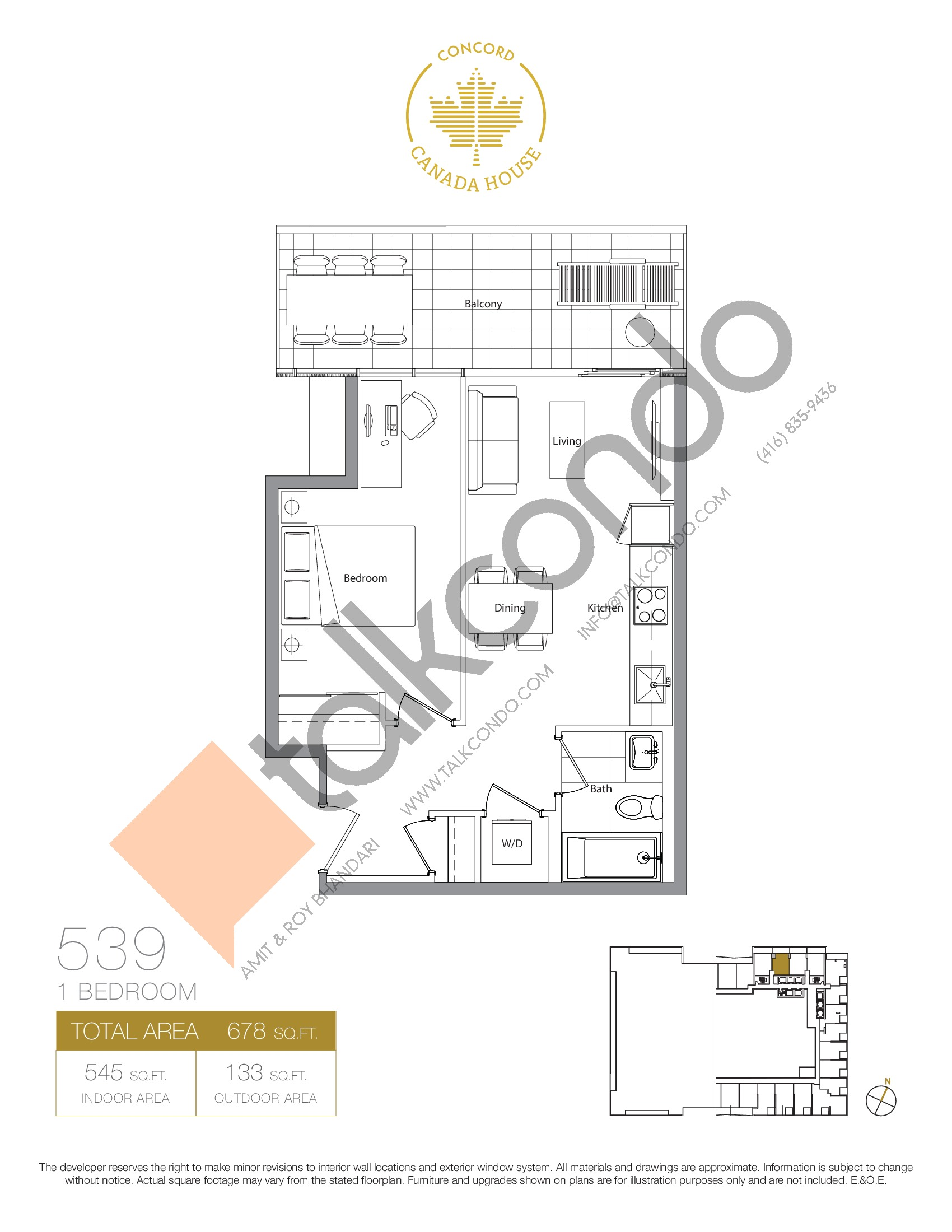 539 - East Tower Floor Plan at Concord Canada House Condos - 545 sq.ft