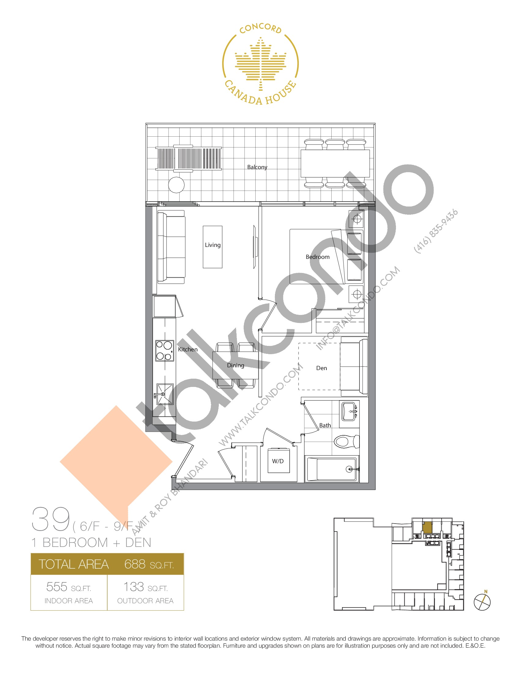 39 - East Tower Floor Plan at Concord Canada House Condos - 555 sq.ft