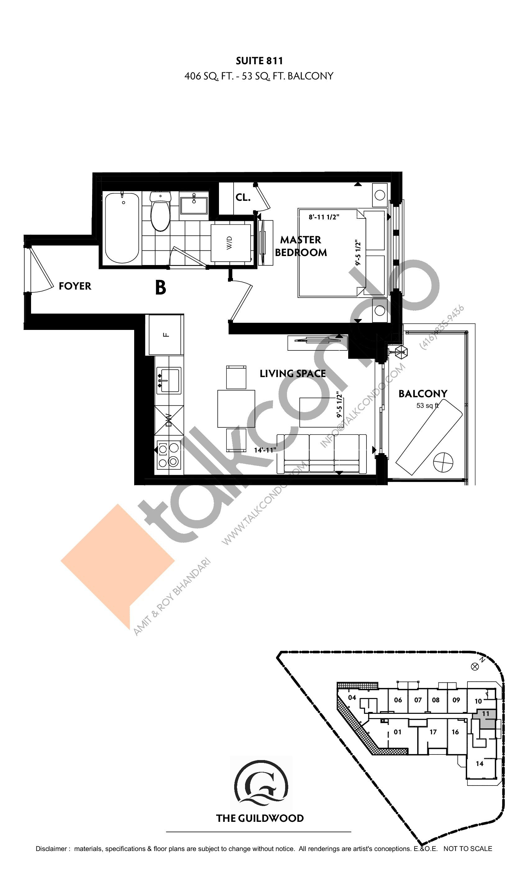 Suite 811 Floor Plan at Guildwood Condos - 406 sq.ft