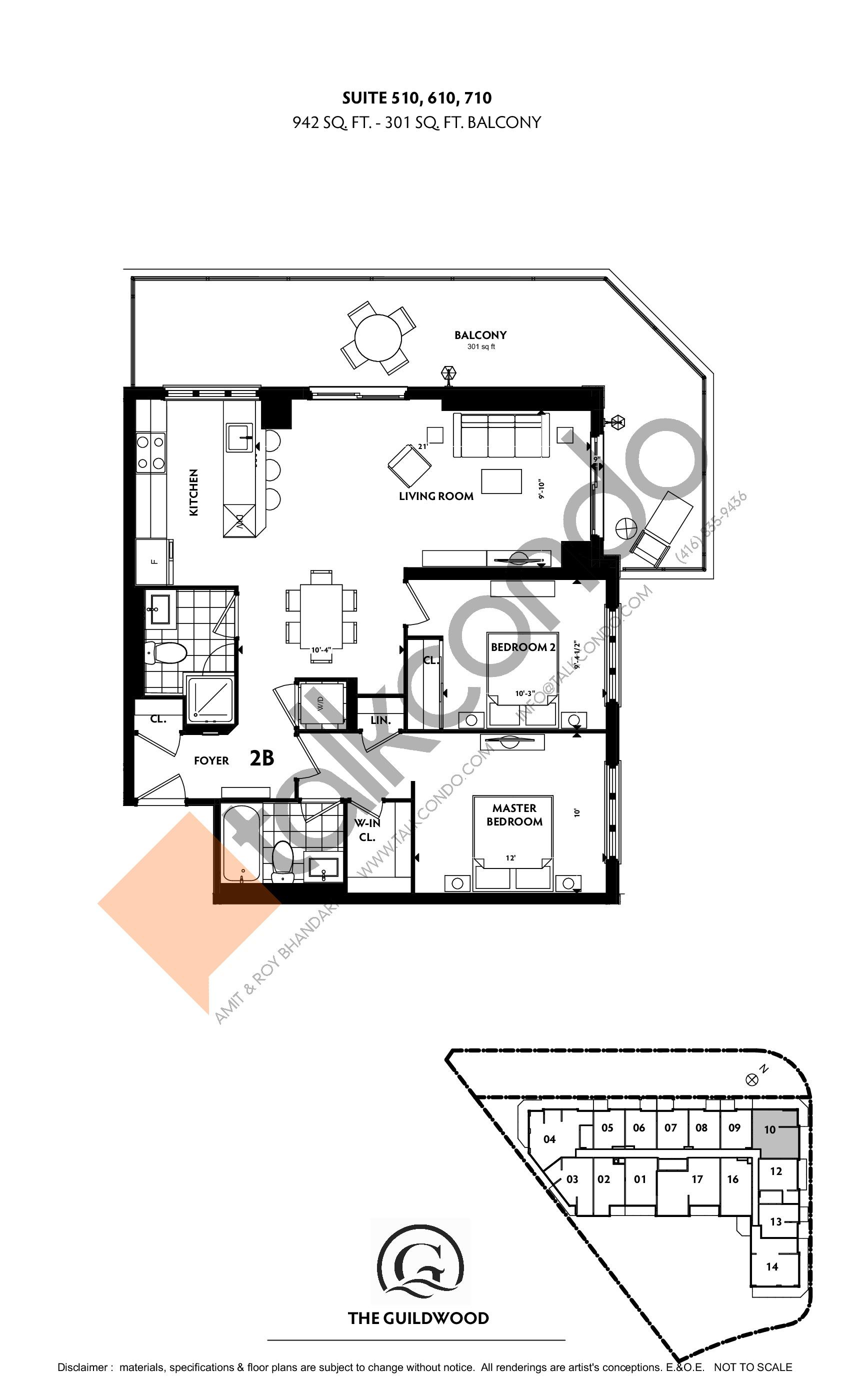 Suite 510, 610, 710 Floor Plan at Guildwood Condos - 942 sq.ft